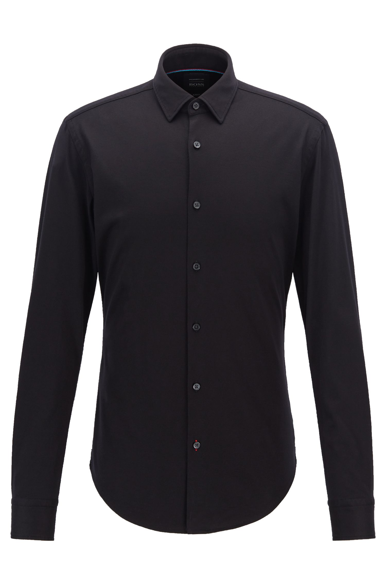 Slim-fit shirt in cotton jersey with contrast details, Black