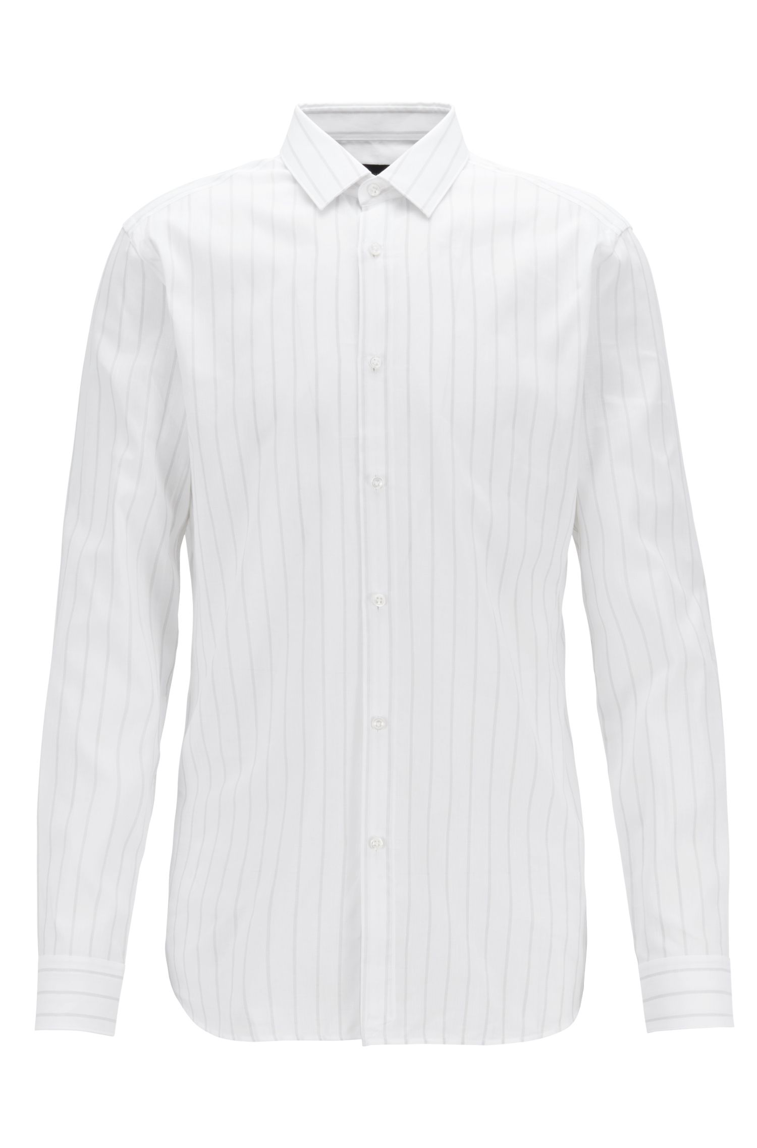 Slim-fit shirt in Italian cotton and linen, White