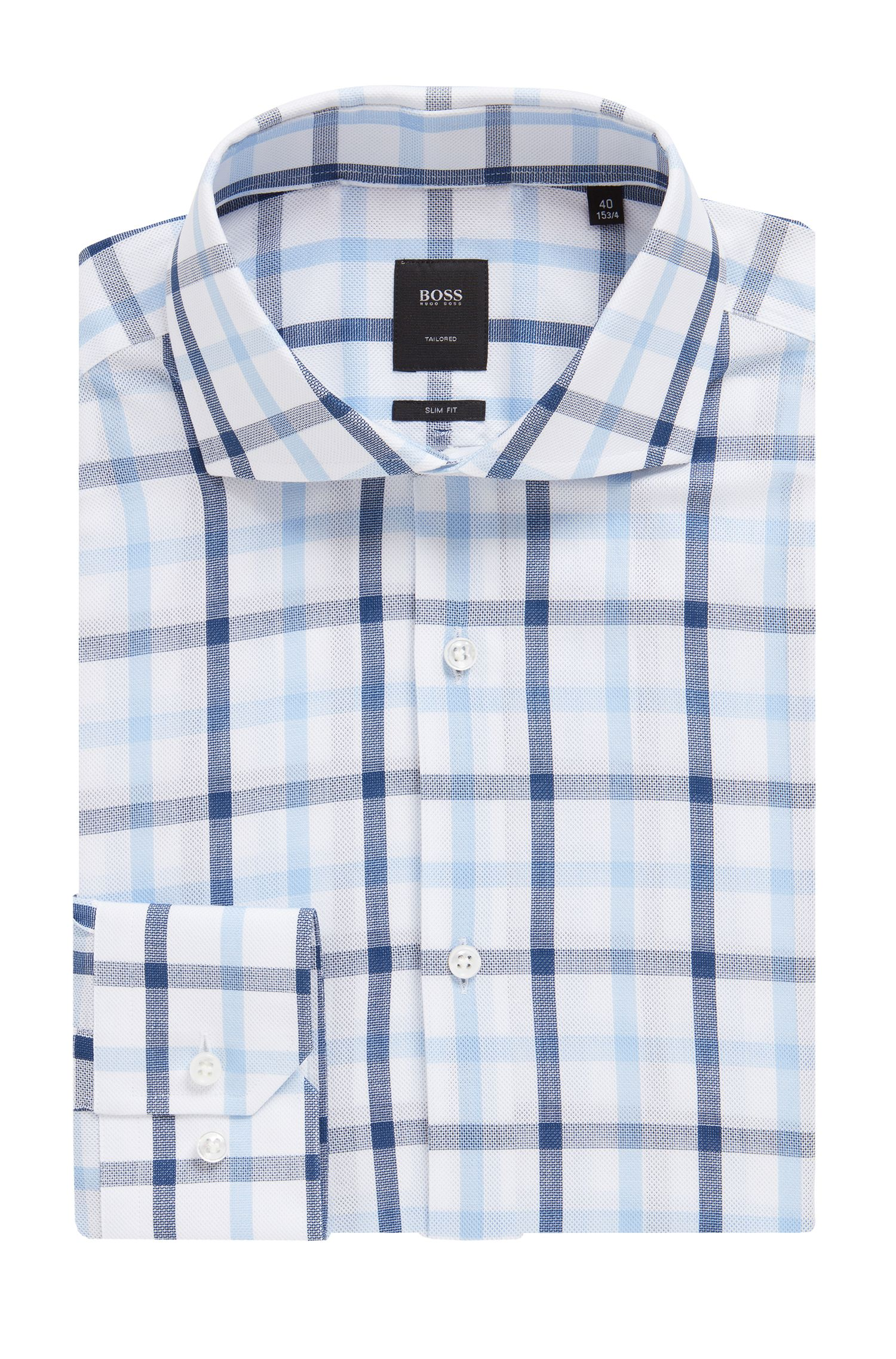 Slim-fit shirt in Vichy-check Italian cotton, Blue