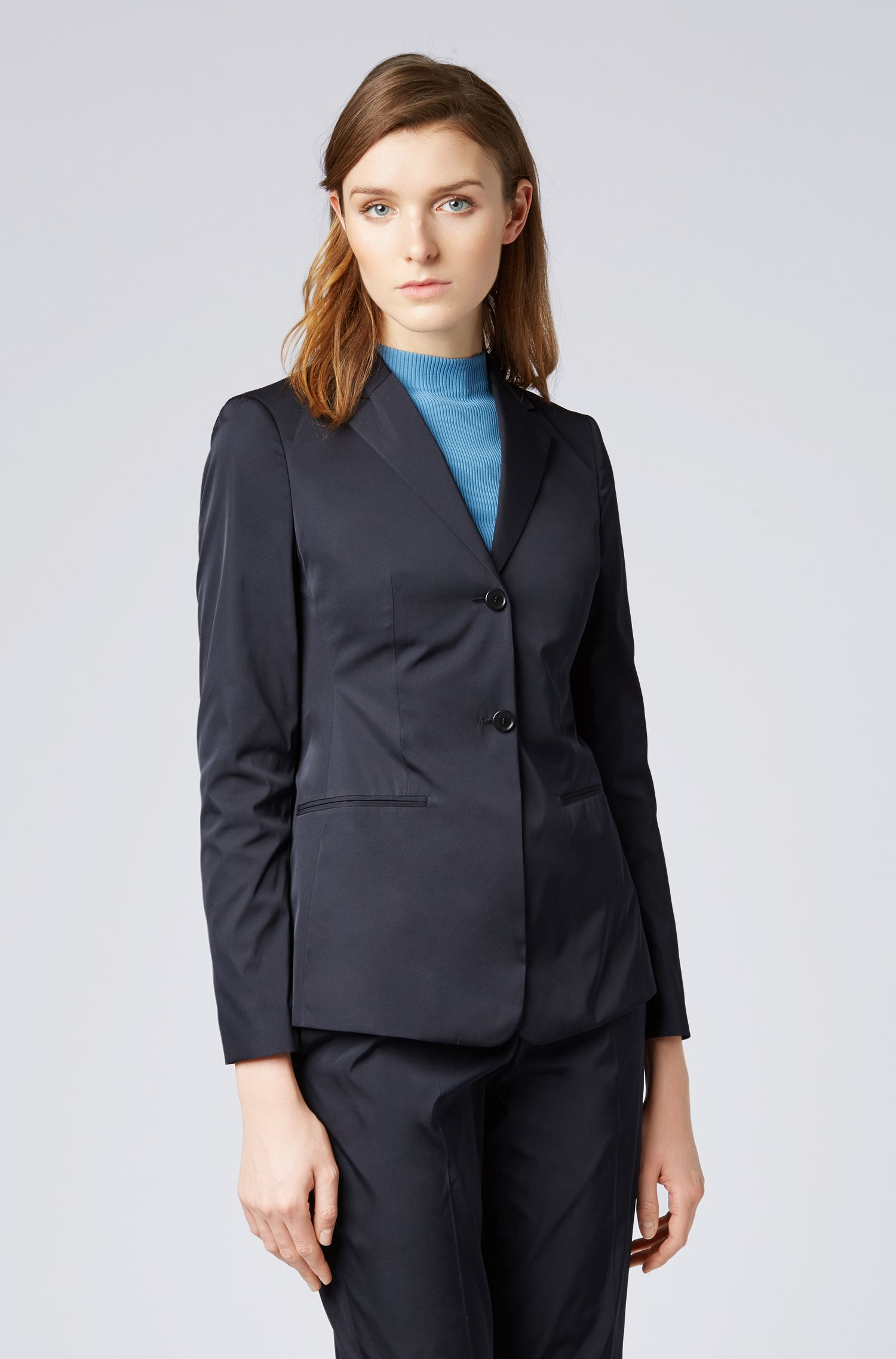 Slim-fit jacket in Italian double-woven taffeta, Open Blue
