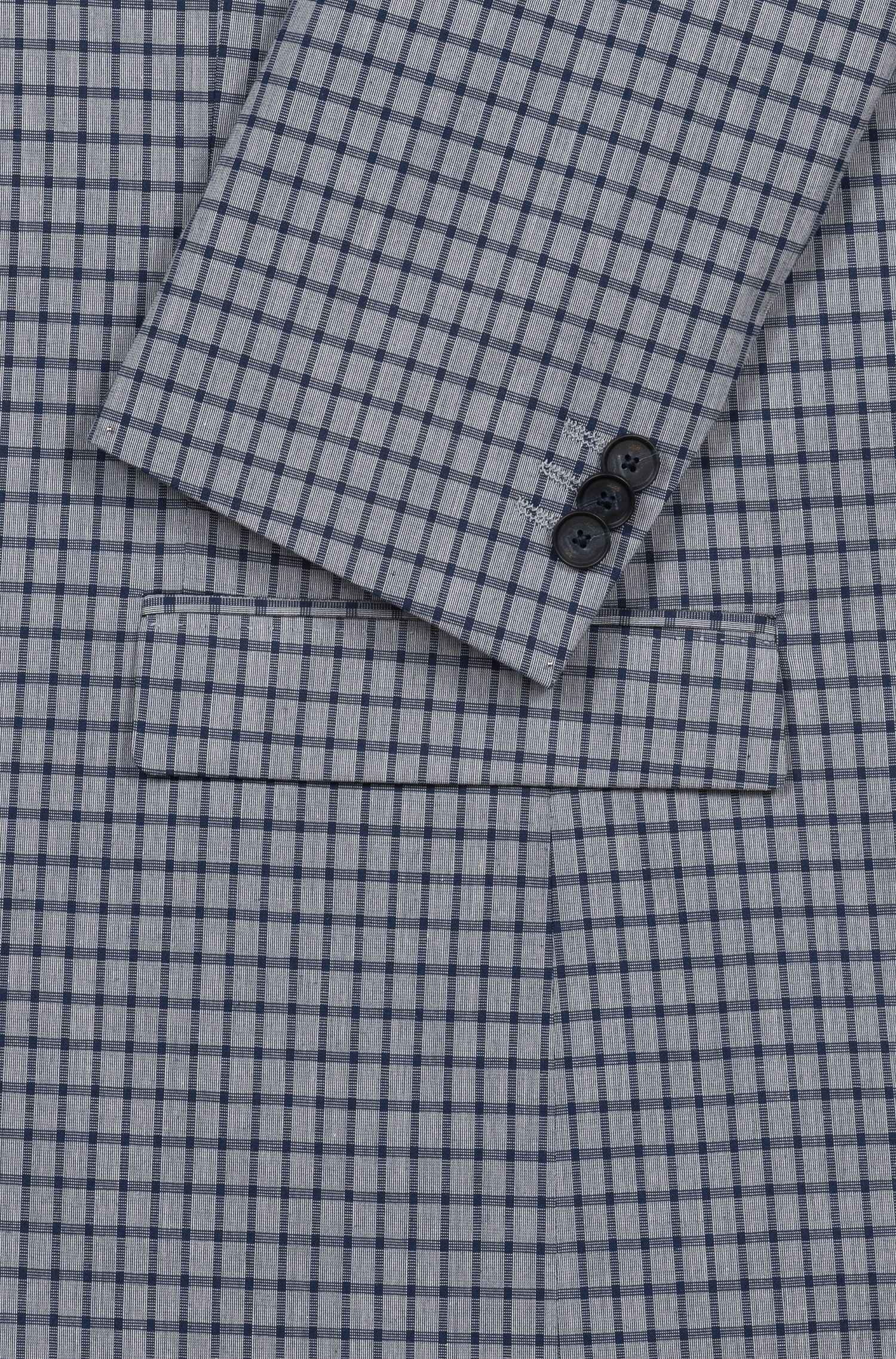 Extra-slim-fit stretch-cotton jacket with micro check, Blue