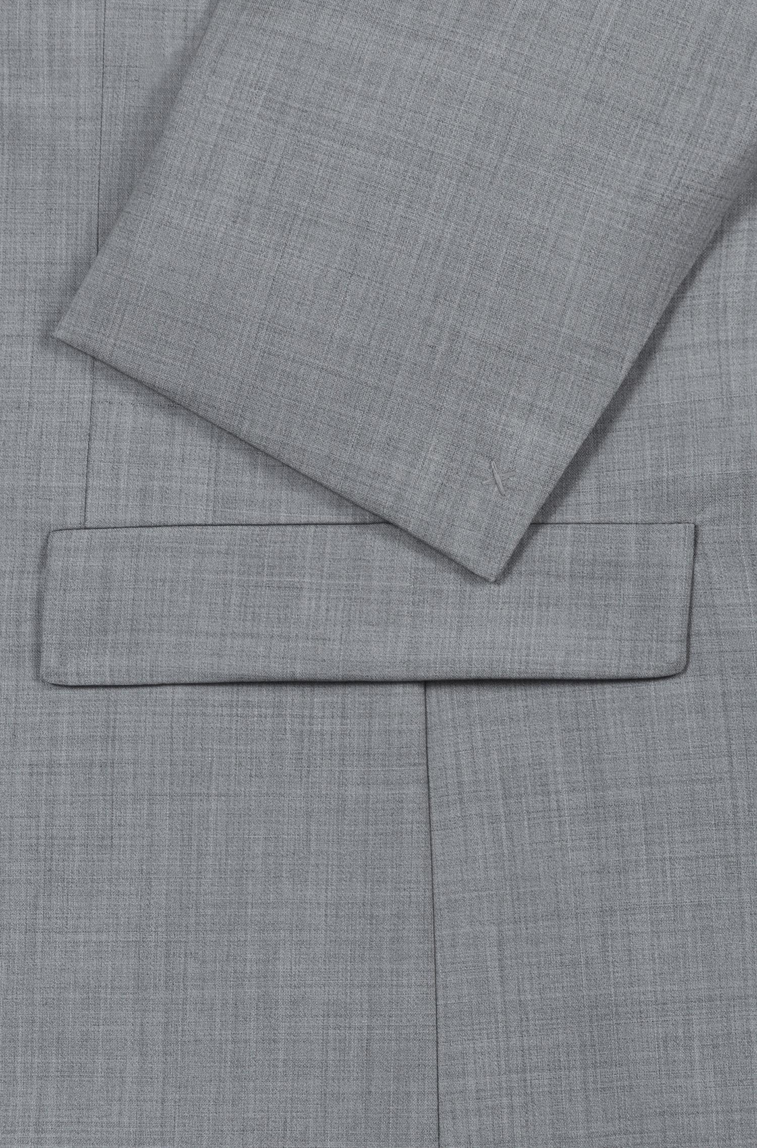Extra-slim-fit jacket in patterned virgin wool, Grey