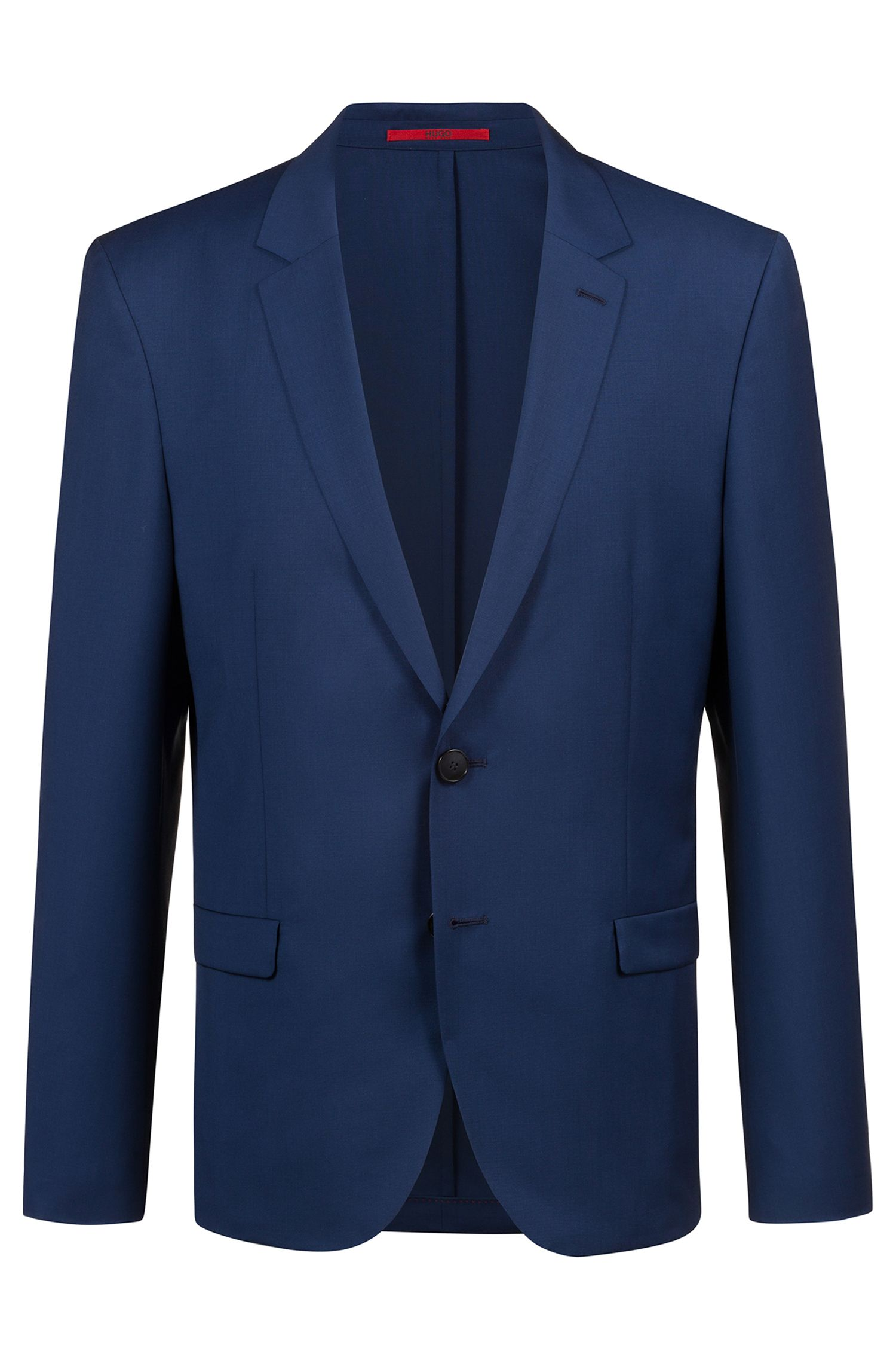 Extra-slim-fit jacket in patterned virgin wool, Blue