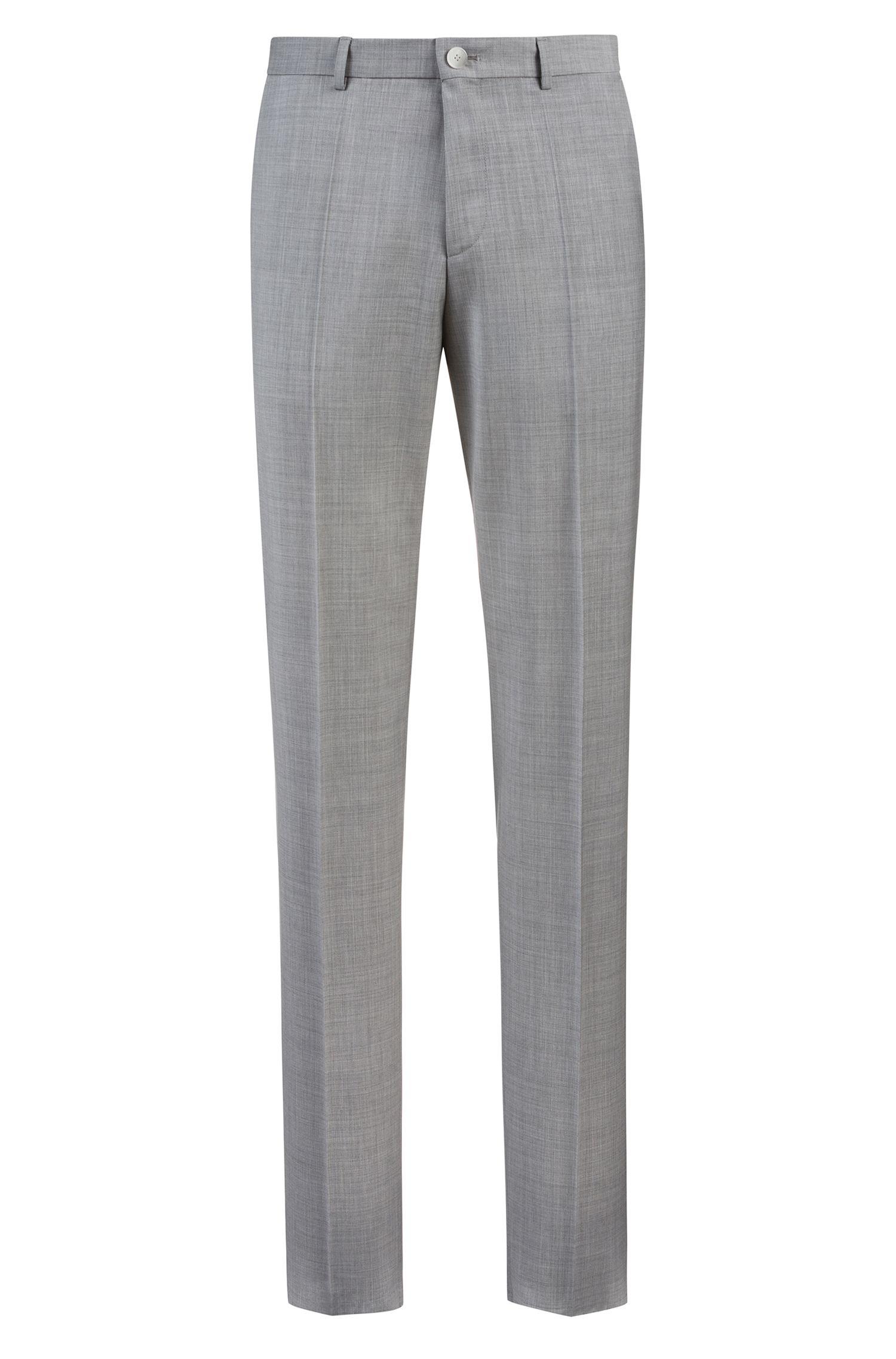 Extra-slim-fit pants in patterned virgin wool, Grey
