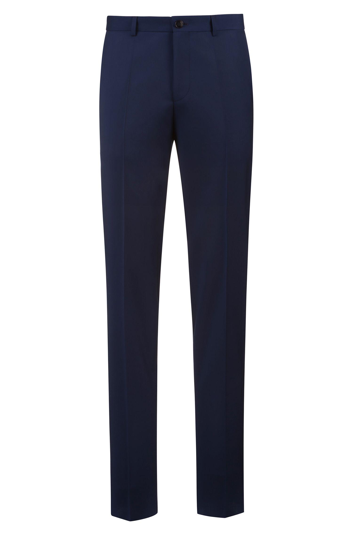 Extra-slim-fit pants in patterned virgin wool, Blue