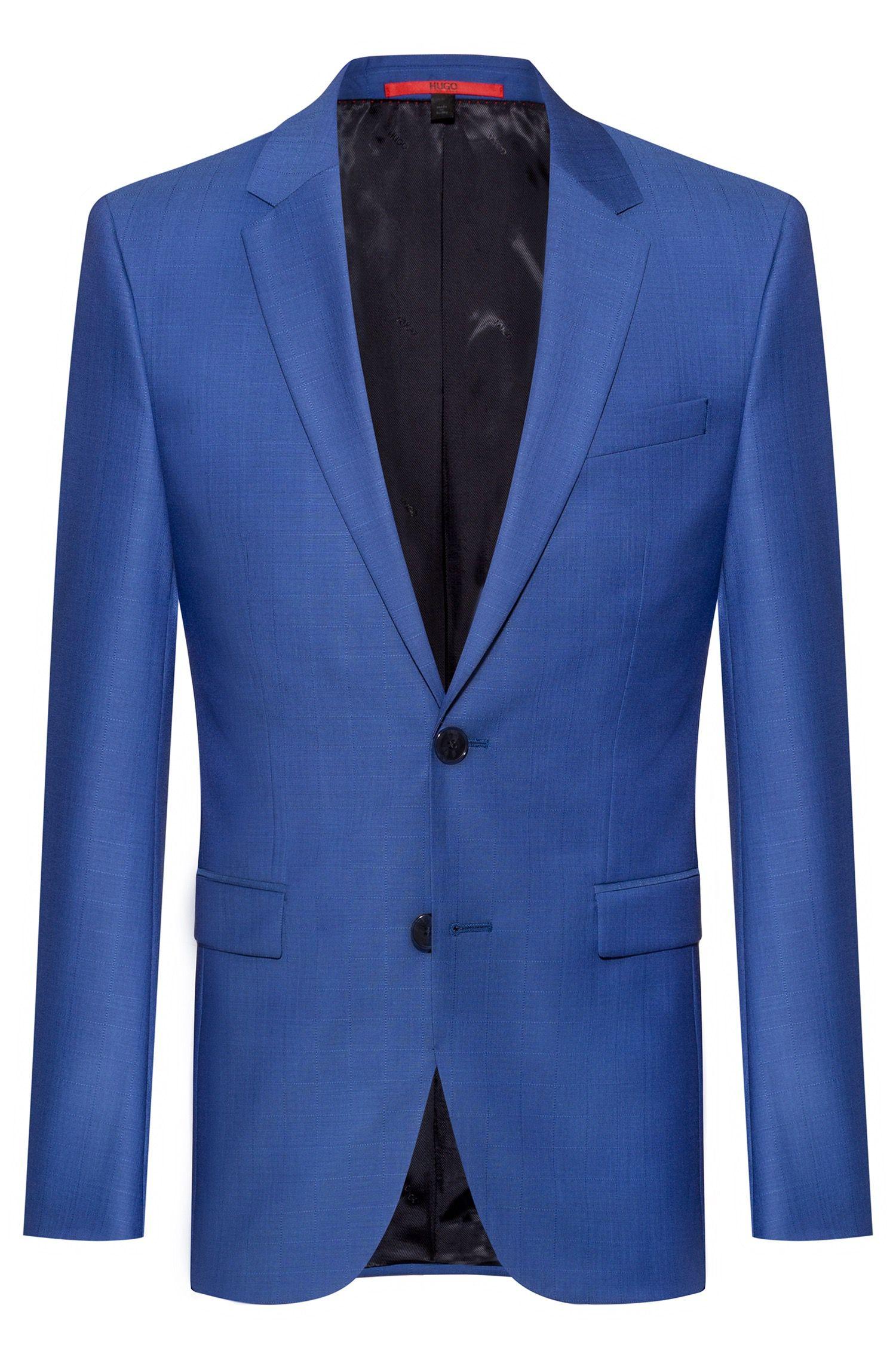 Extra-slim-fit jacket in windowpane-check virgin wool, Blue