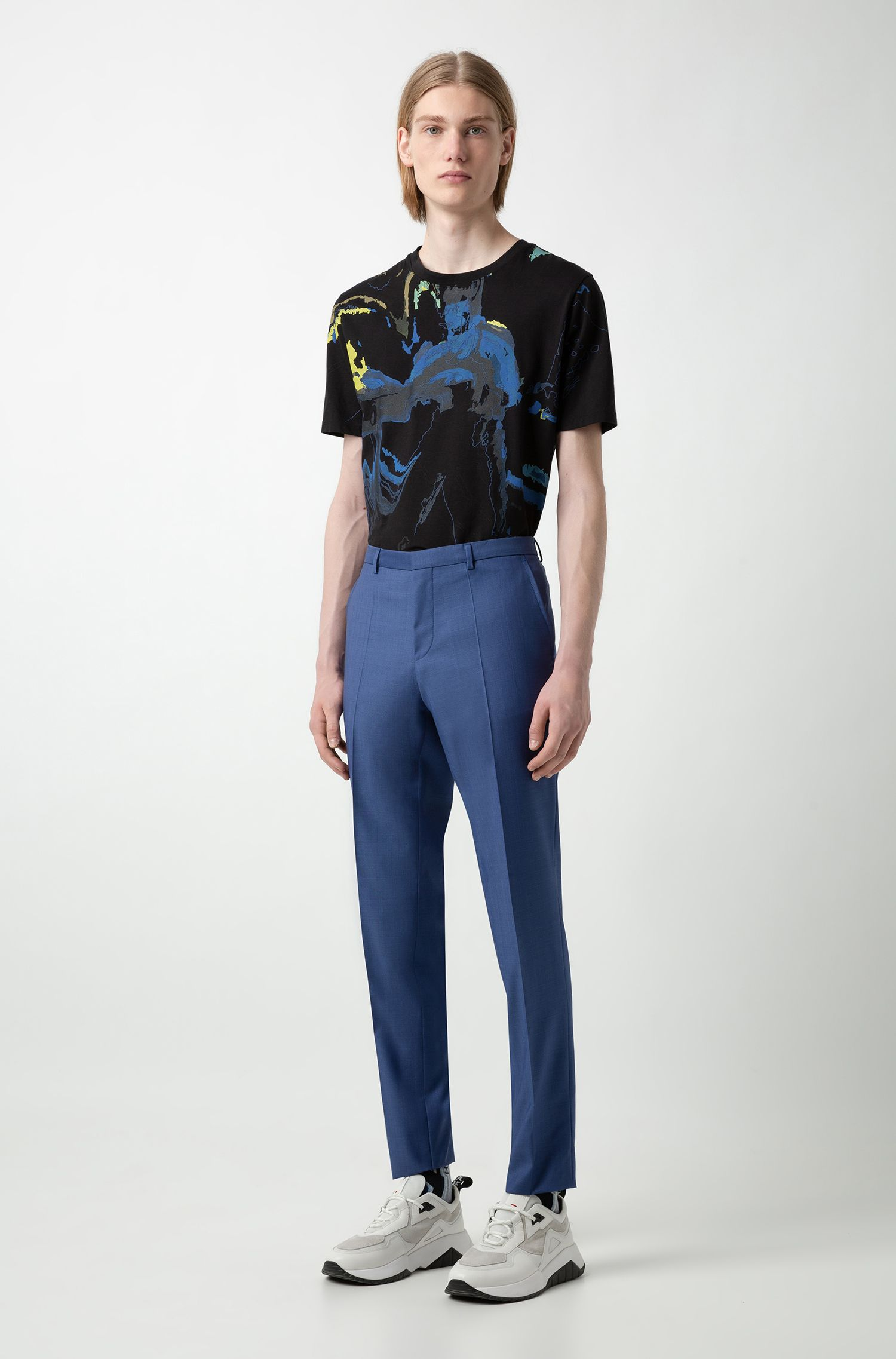Extra-slim-fit virgin-wool pants with windowpane check, Blue