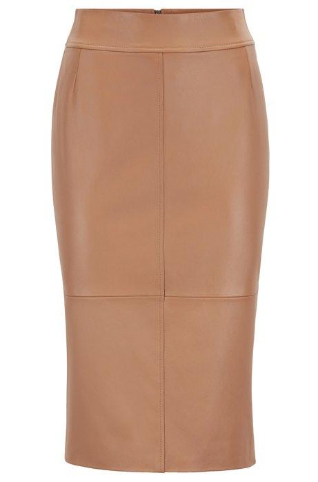 Regular-fit pencil skirt in lambskin, Light Brown
