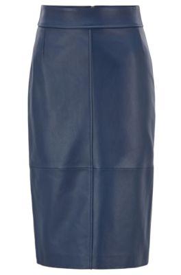 Regular-fit pencil skirt in lambskin, Dark Blue