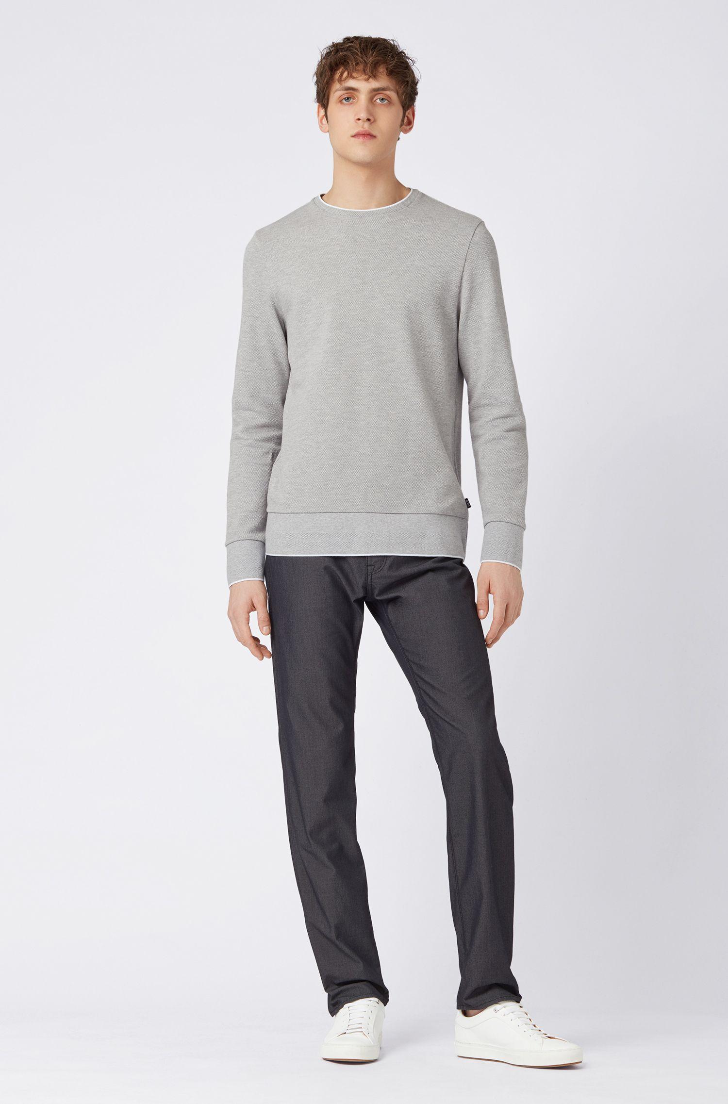 Regular-fit jeans in pin-point structured denim, Black
