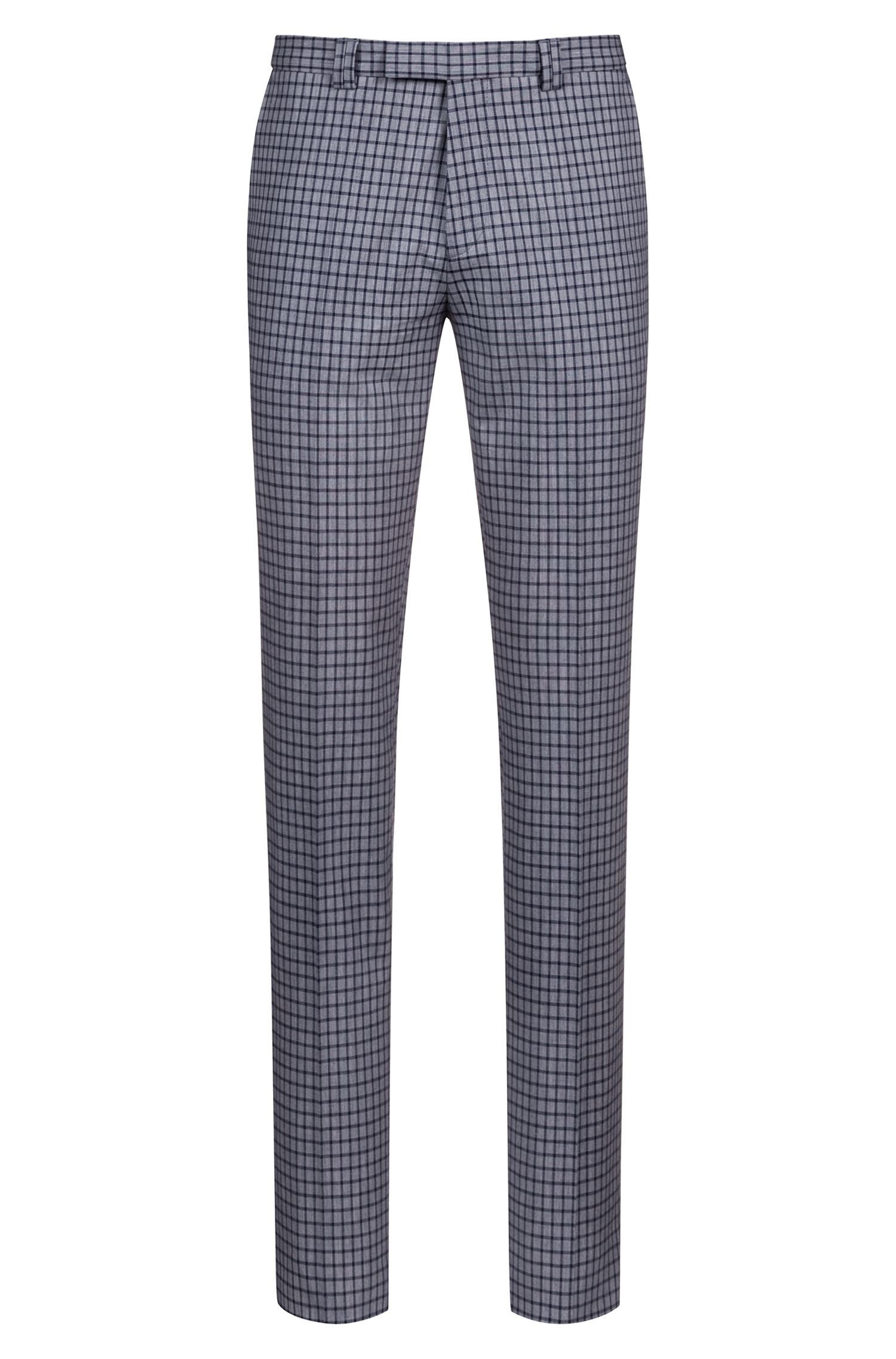 Extra-slim-fit pants in micro-check stretch cotton, Blue