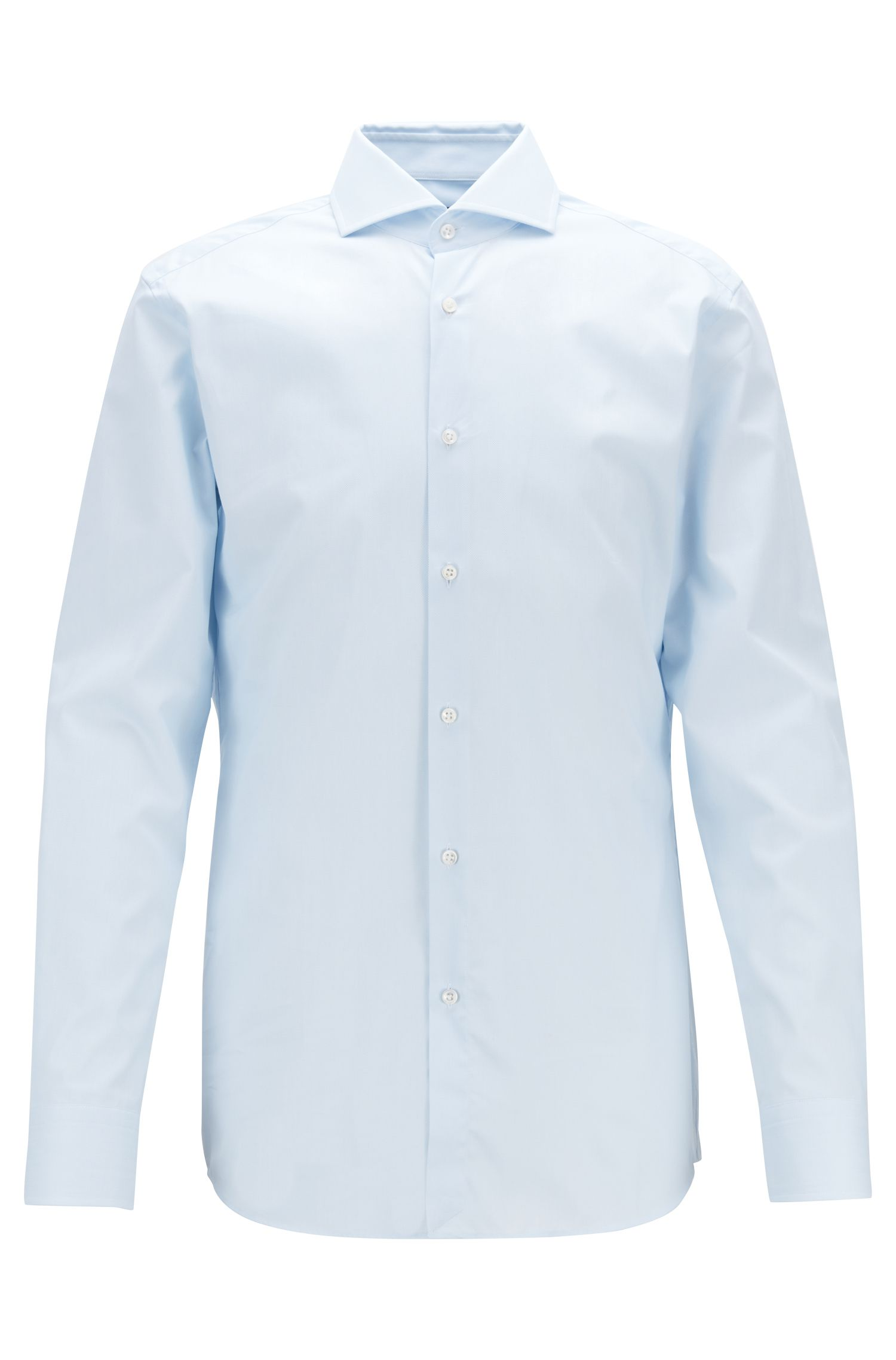 Slim-fit shirt in cotton pique with mother-of-pearl buttons, Light Blue