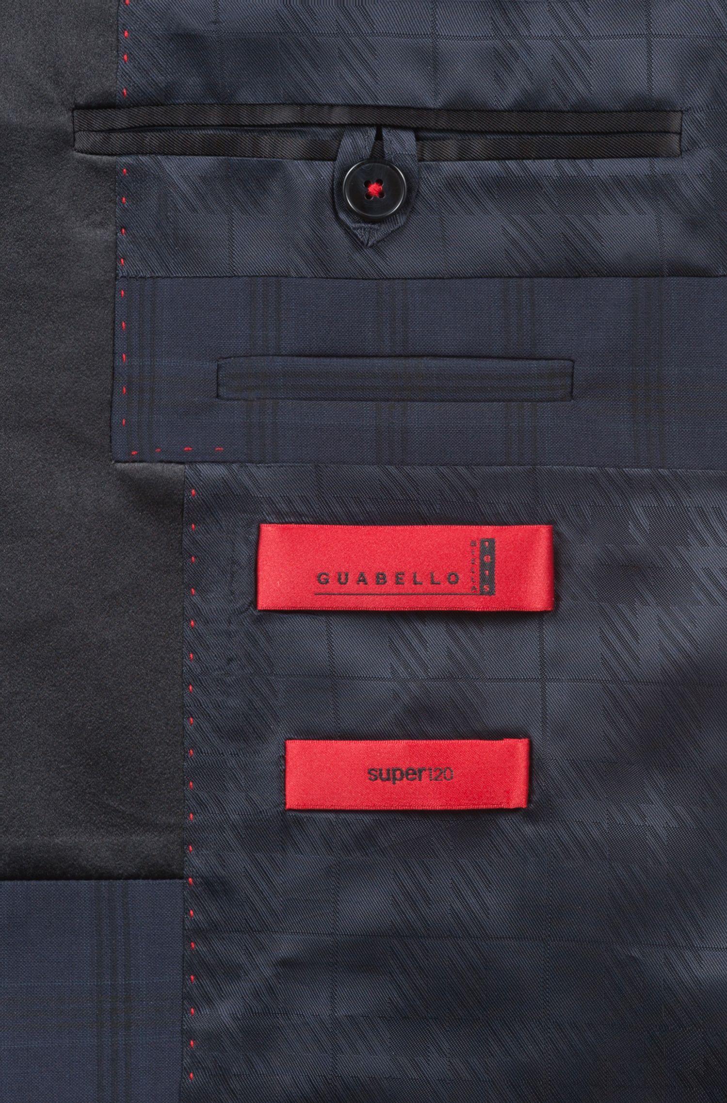 Extra-slim-fit virgin-wool suit with silk trims, Dark Blue