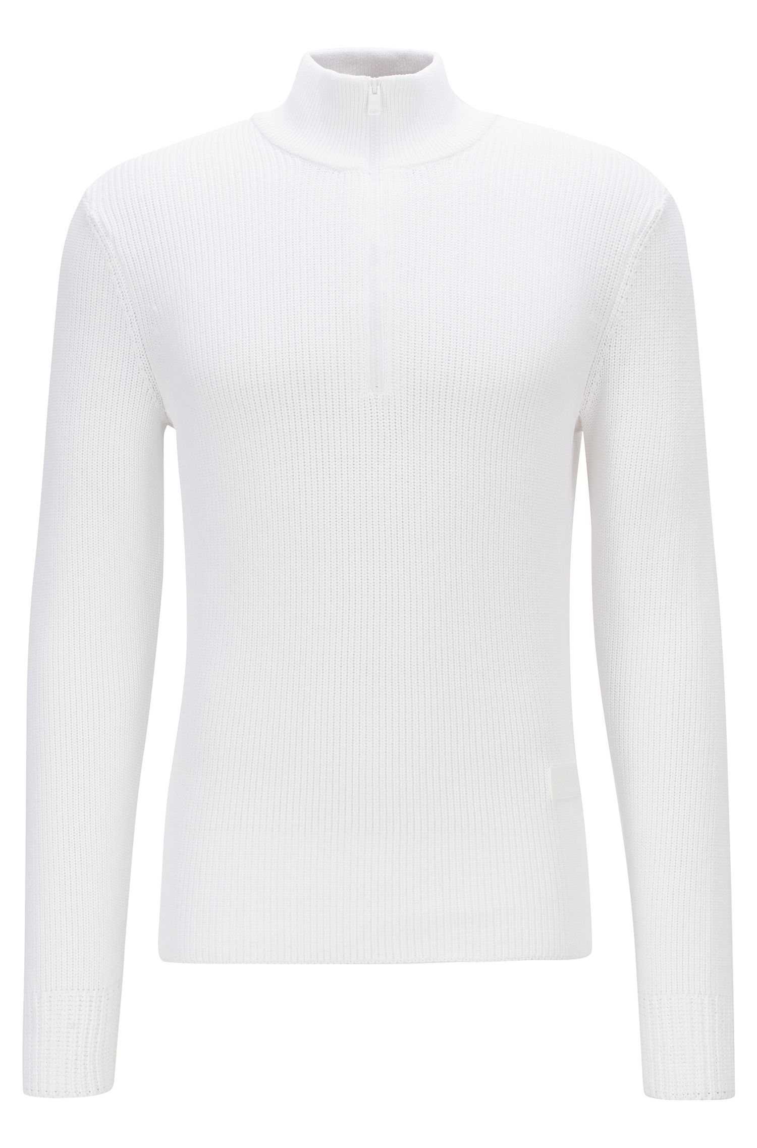Zipper-neck sweater in a mix of ribbed knits, White