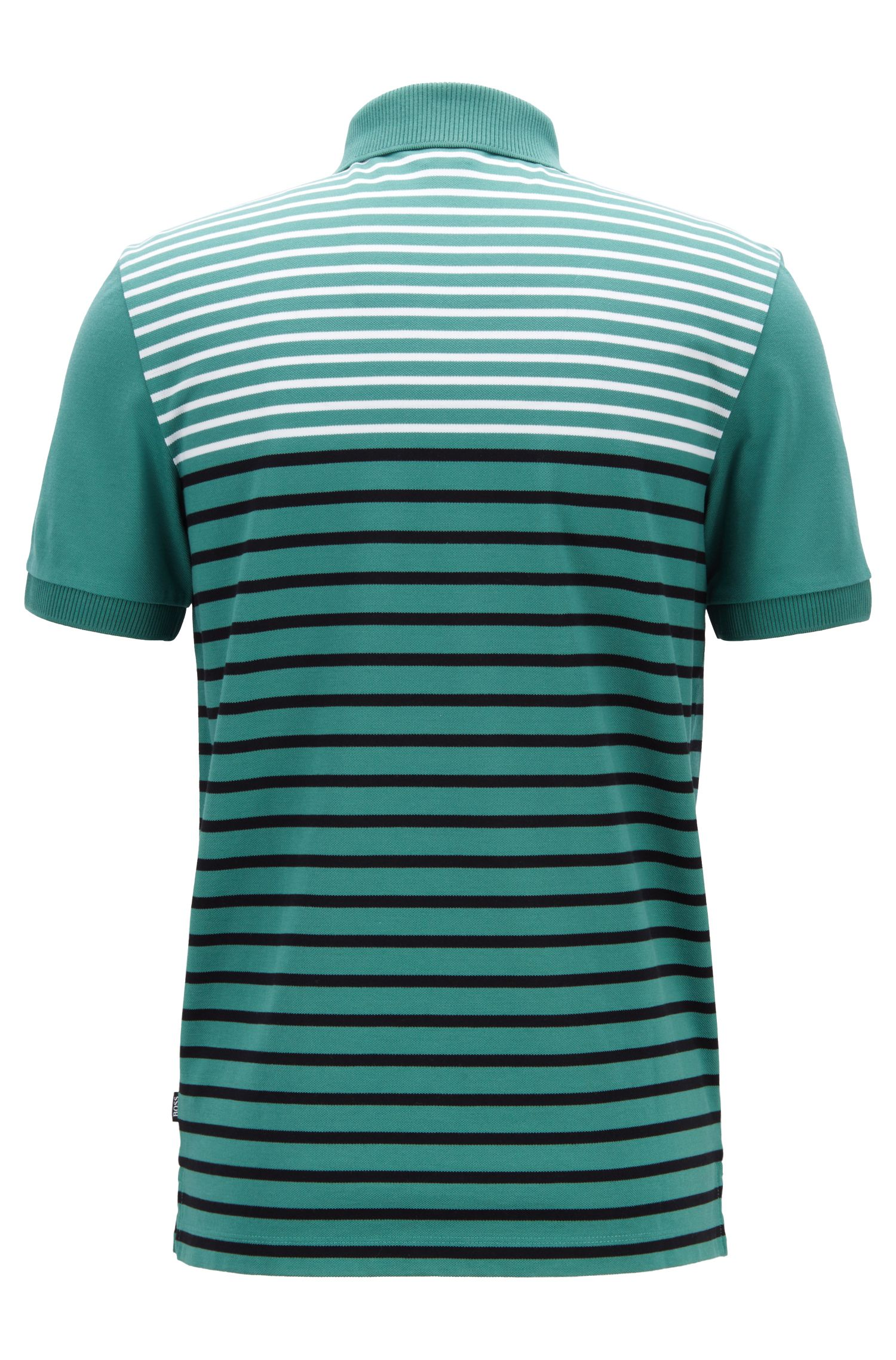 Regular-fit polo shirt in liquid-finish cotton piqué, Open Green