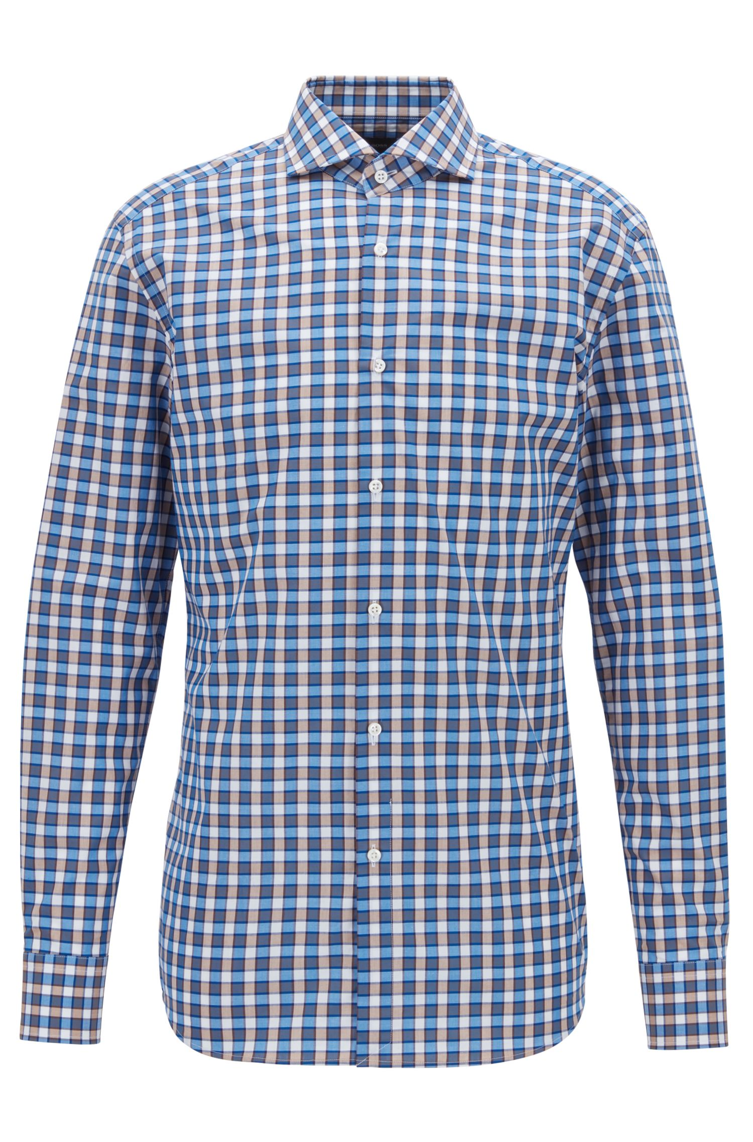 Slim-fit shirt with two-colored gingham check, Blue