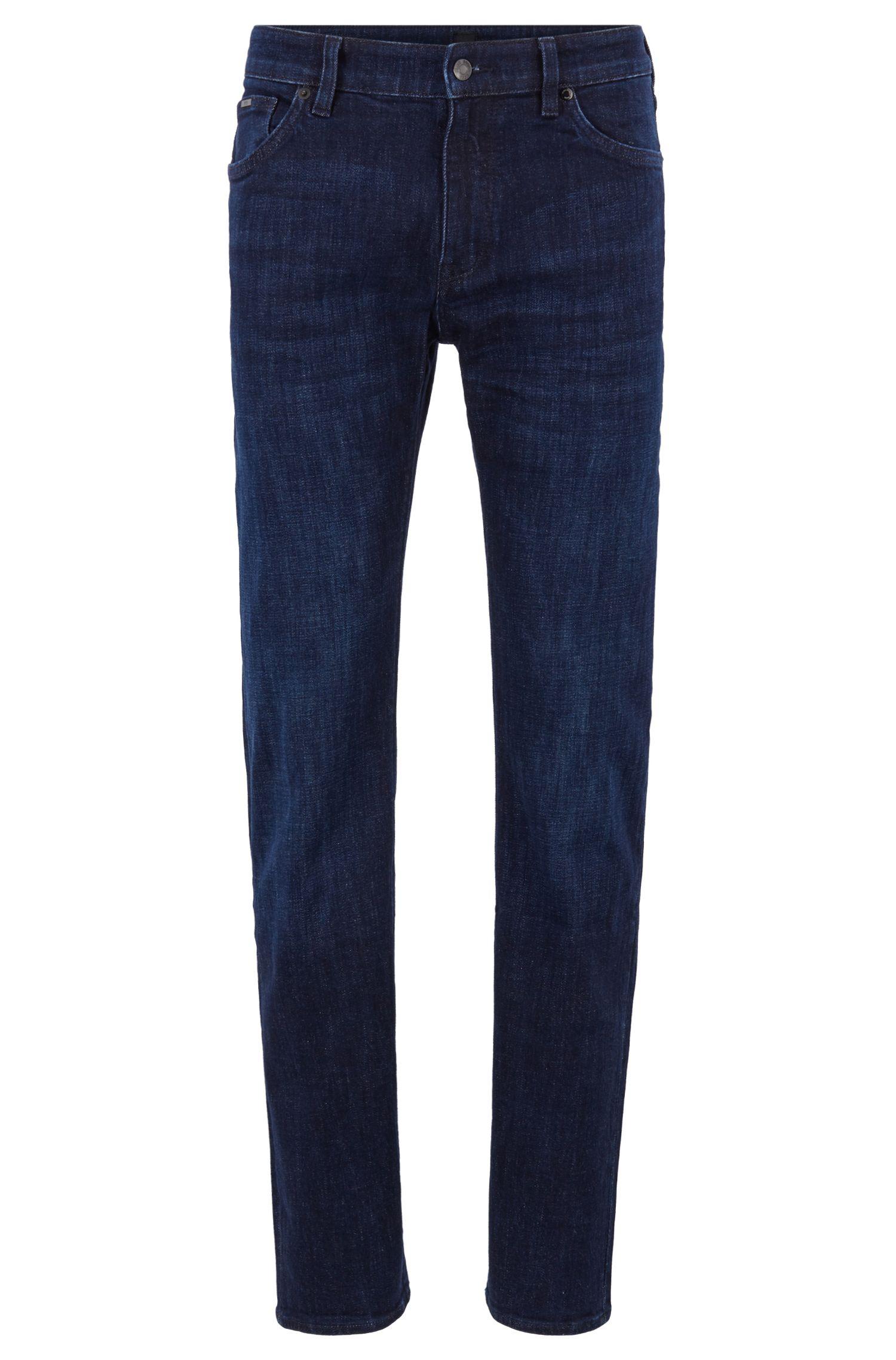 Regular-fit jeans in dark-blue stretch denim, Blue