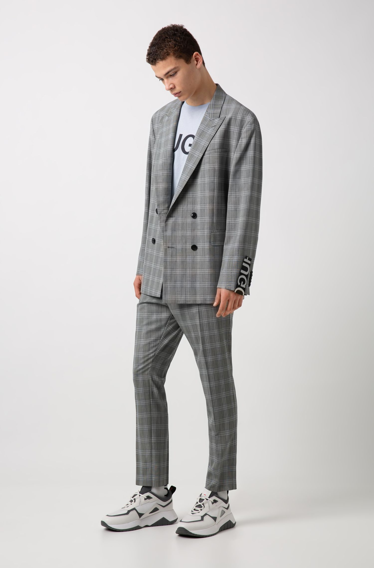 Oversized-fit suit in checkered virgin wool, Open Grey