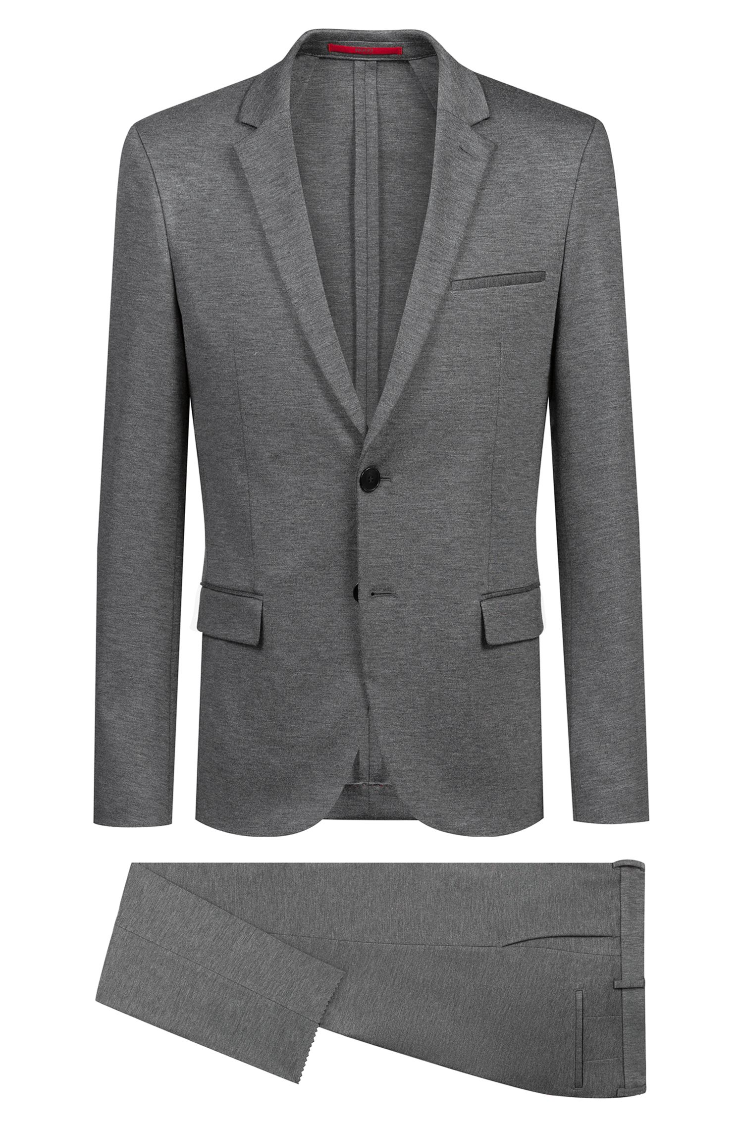 Extra-slim-fit suit in mid-weight stretch jersey, Open Grey