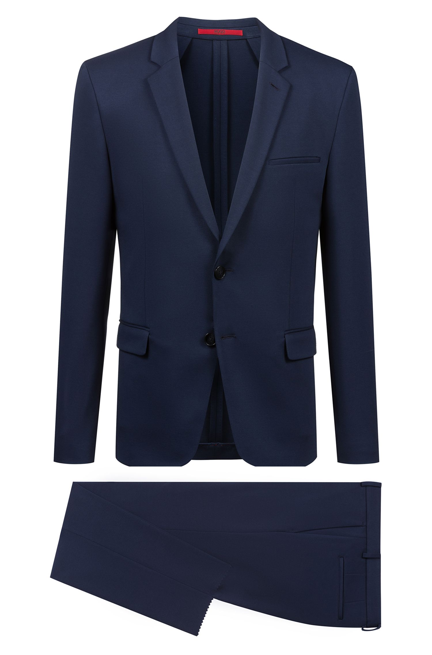 Extra-slim-fit suit in mid-weight stretch jersey, Dark Blue