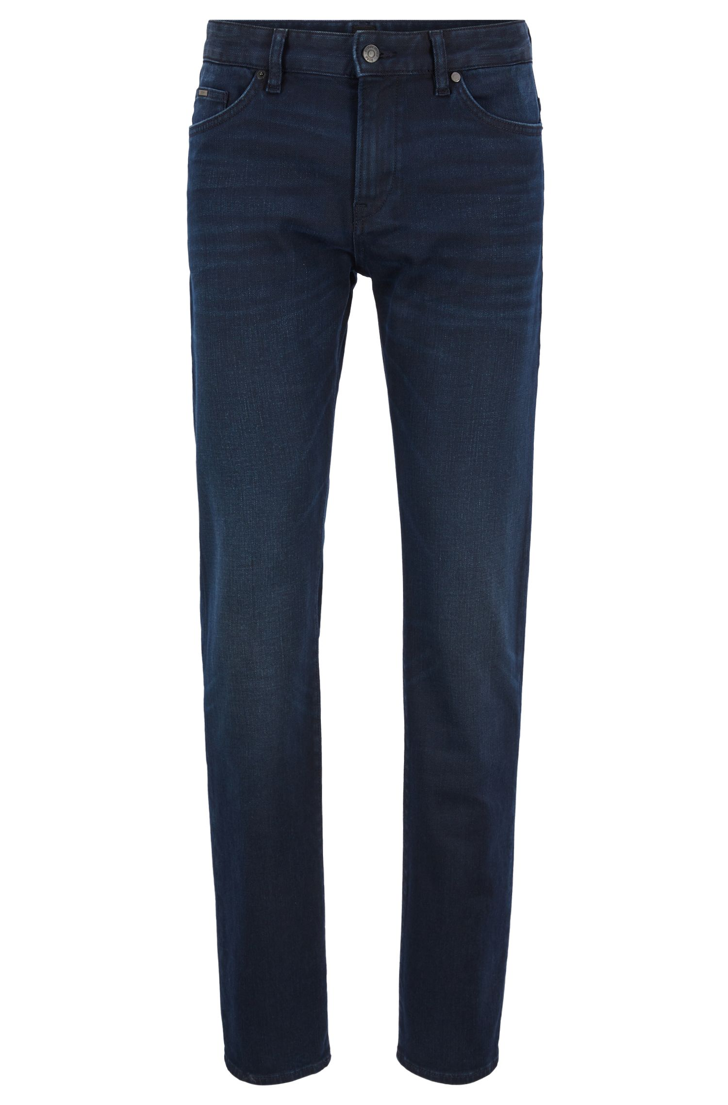 Slim-fit jeans in dark-blue comfort-stretch denim, Dark Blue