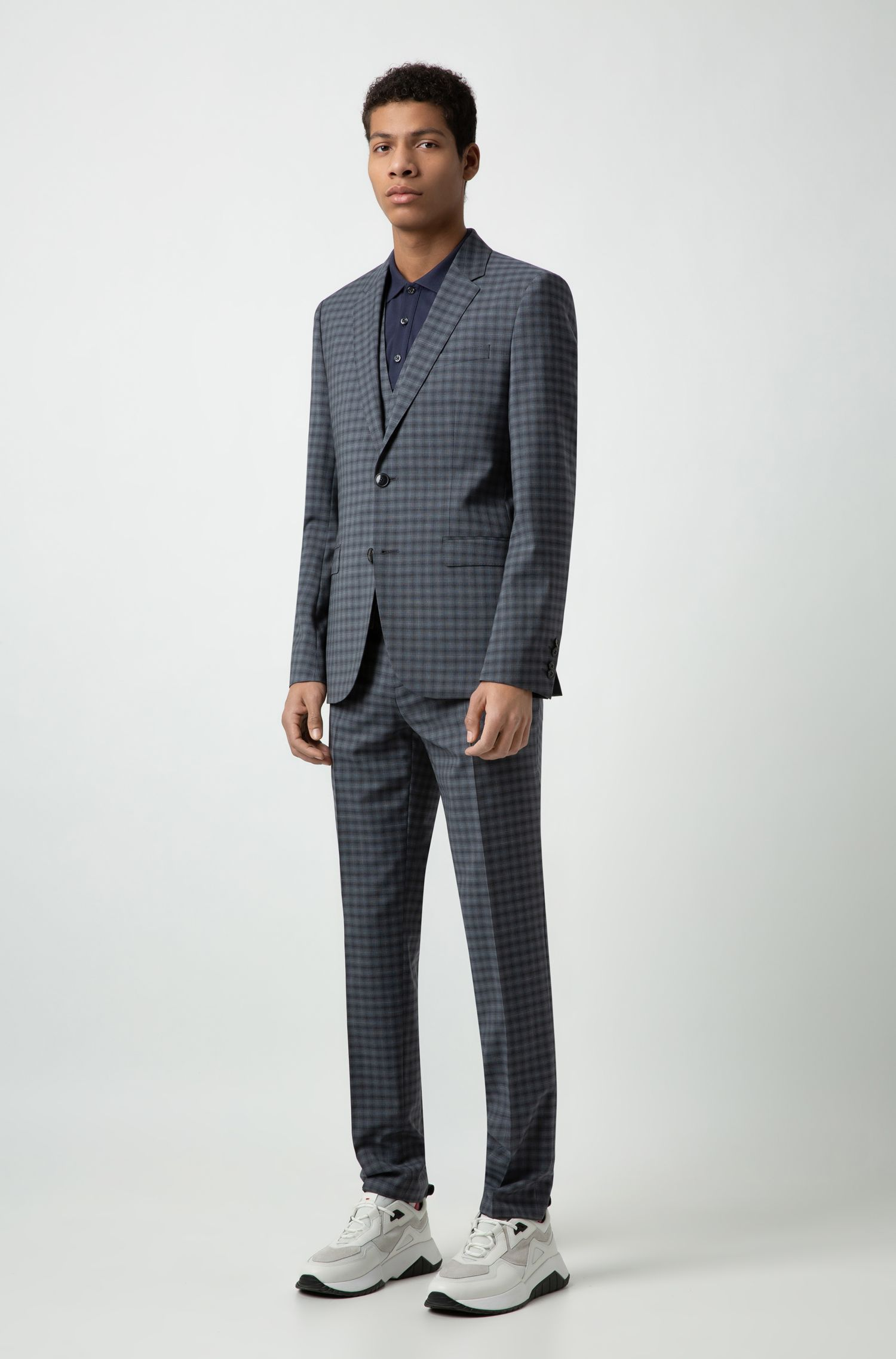 Extra-slim-fit three-piece suit in Italian wool, Turquoise