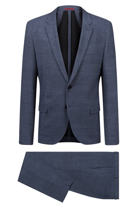Extra-slim-fit suit in bonded jersey, Dark Blue