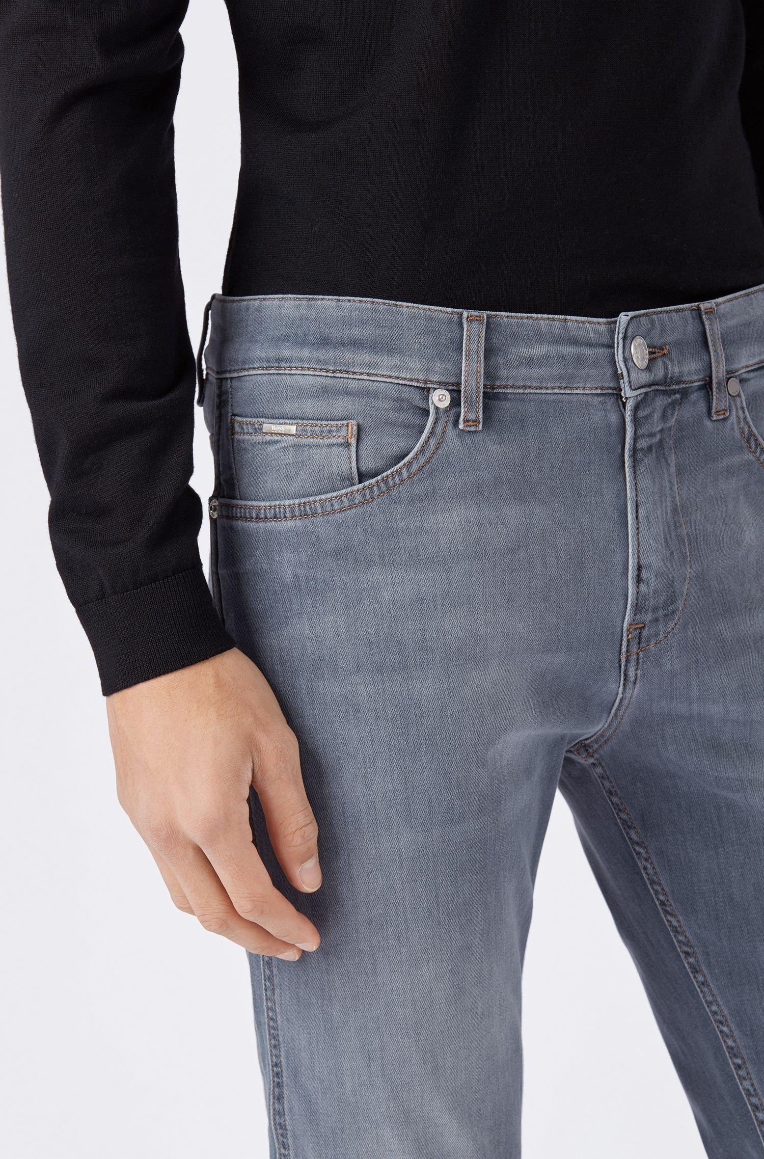 Slim-fit jeans in Italian stretch denim, Grey