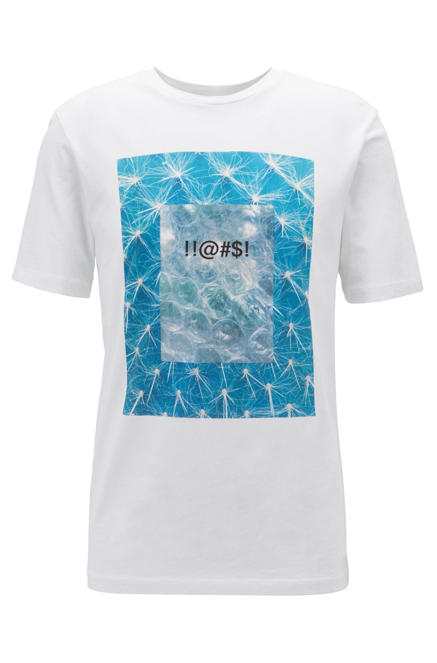 Relaxed-fit slogan T-shirt in eco-friendly recot²® cotton, White