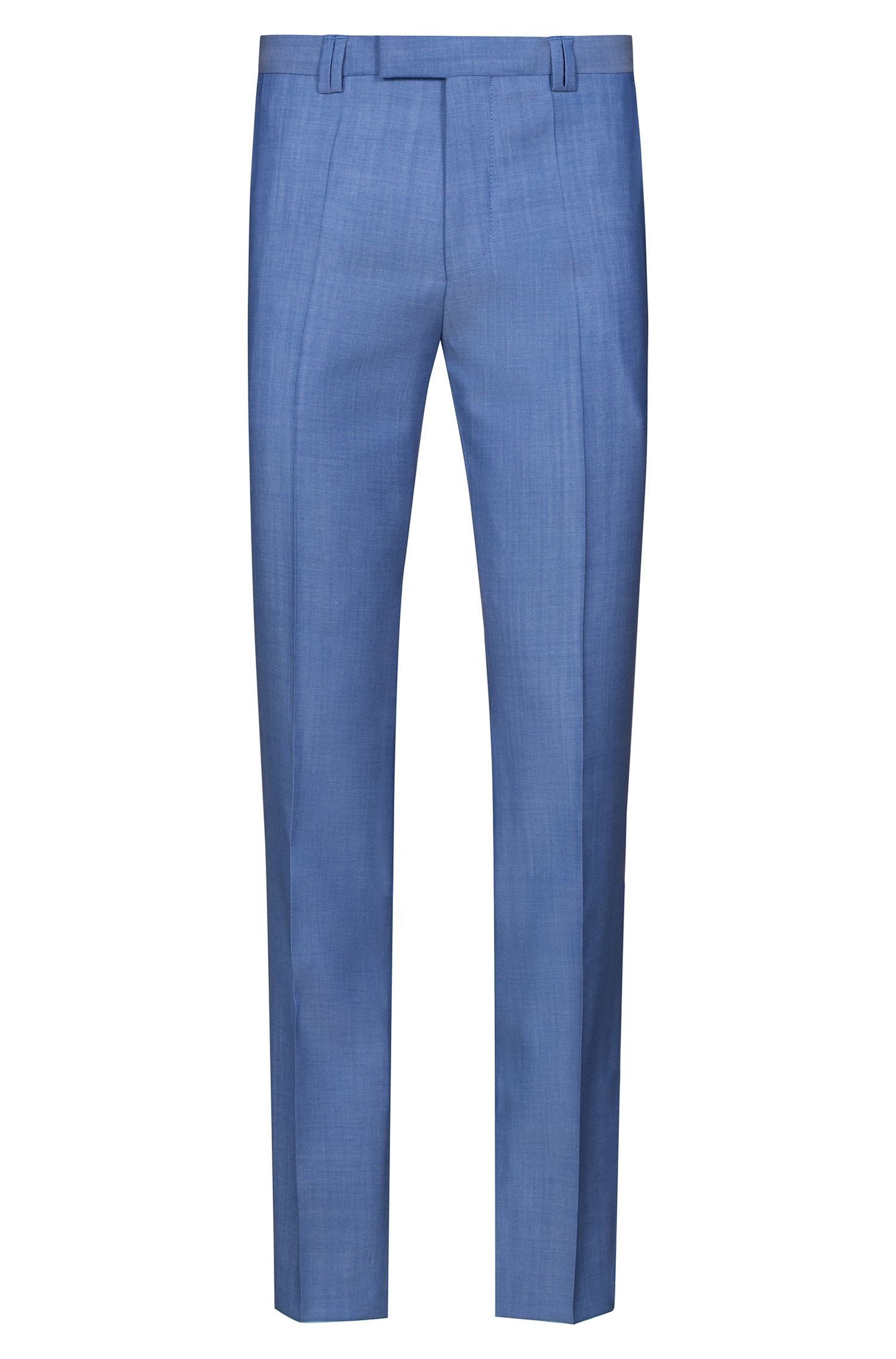 Extra-slim-fit three-piece suit in textured wool, Light Blue