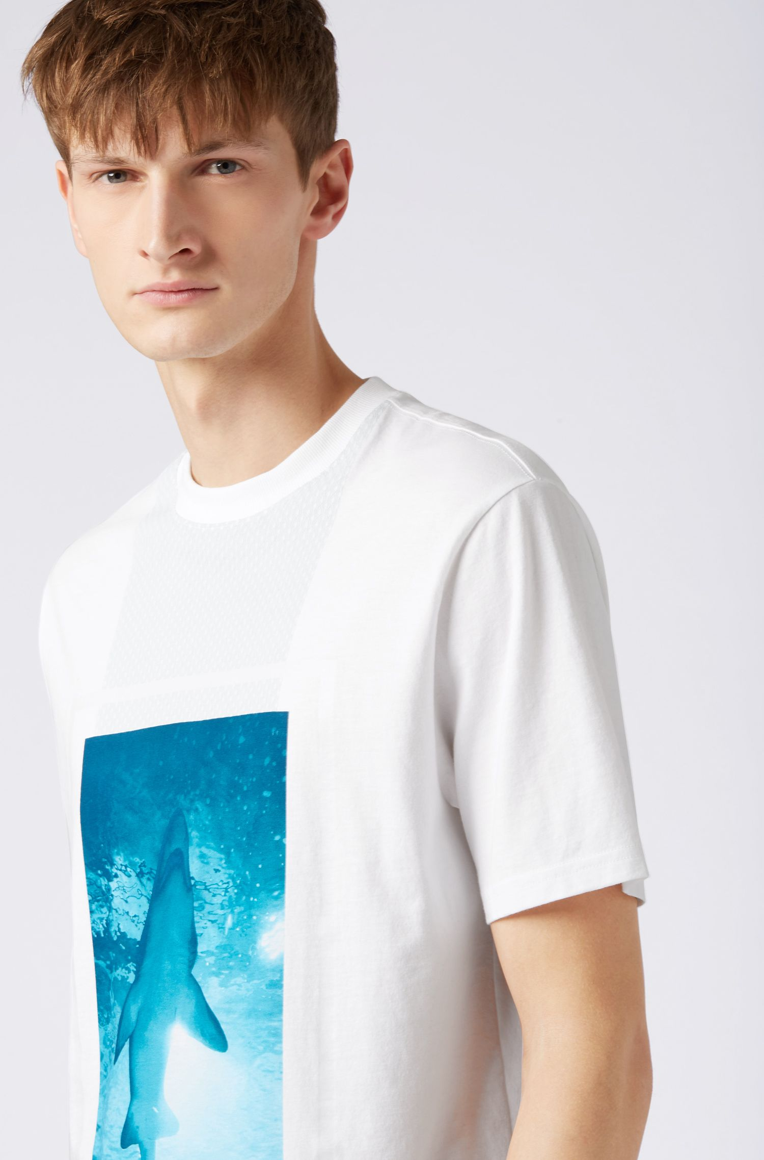 Relaxed-fit T-shirt in cotton jersey with 3D effects, White
