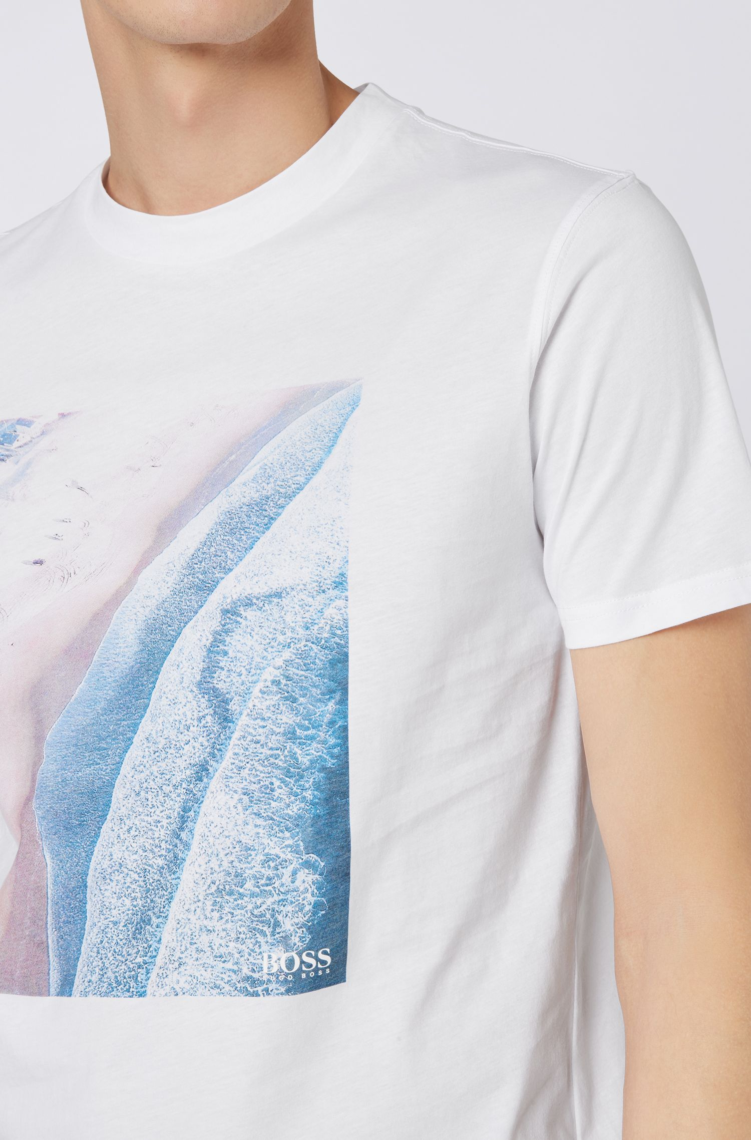 Relaxed-fit T-shirt with cracked-effect graphic print, White