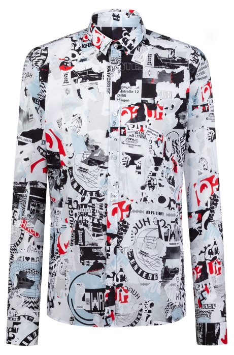3e2782cd7 HUGO - Extra-slim-fit shirt with Berlin Wall-inspired print