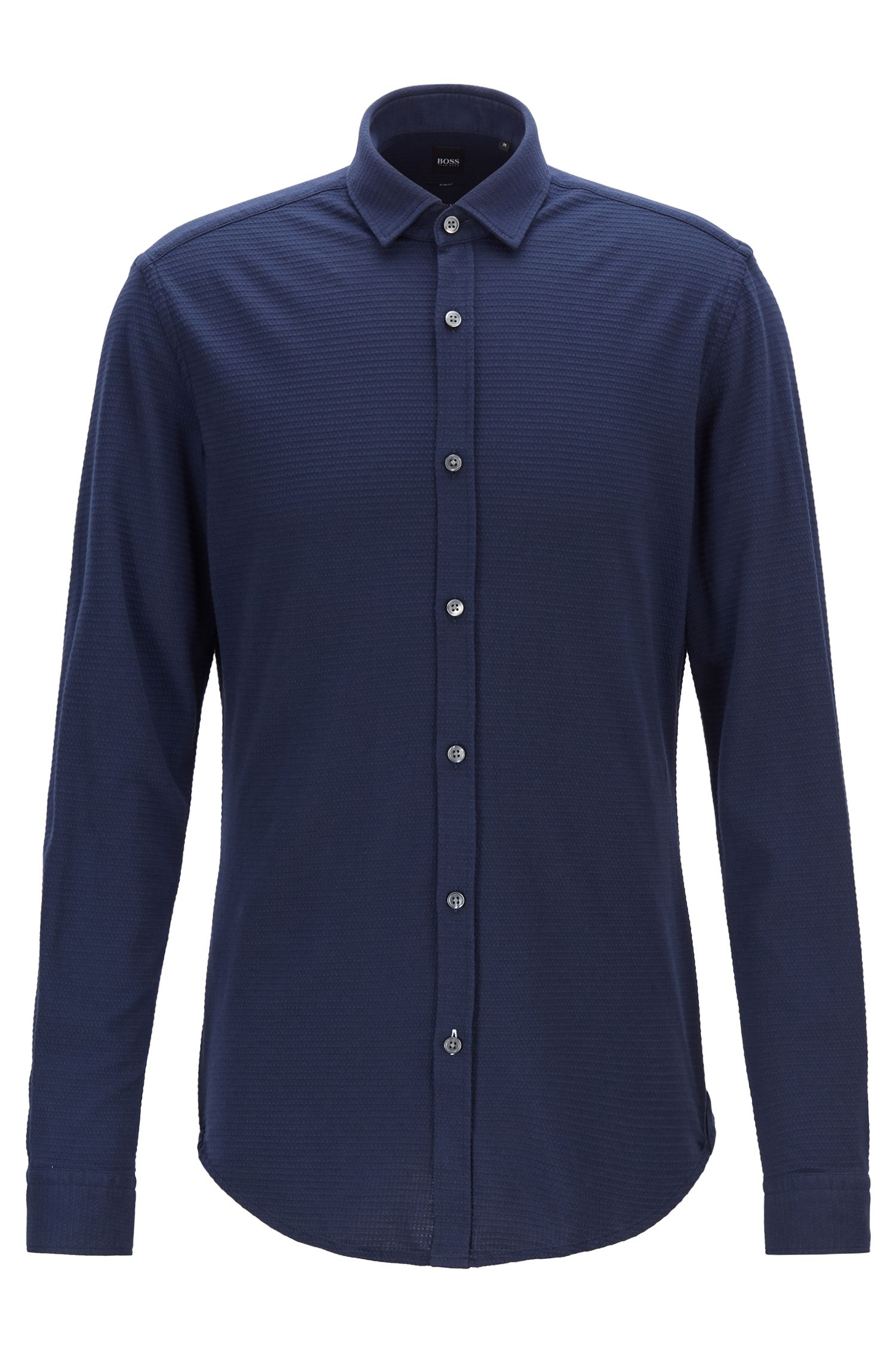 Slim-fit shirt in structured cotton jersey, Open Blue