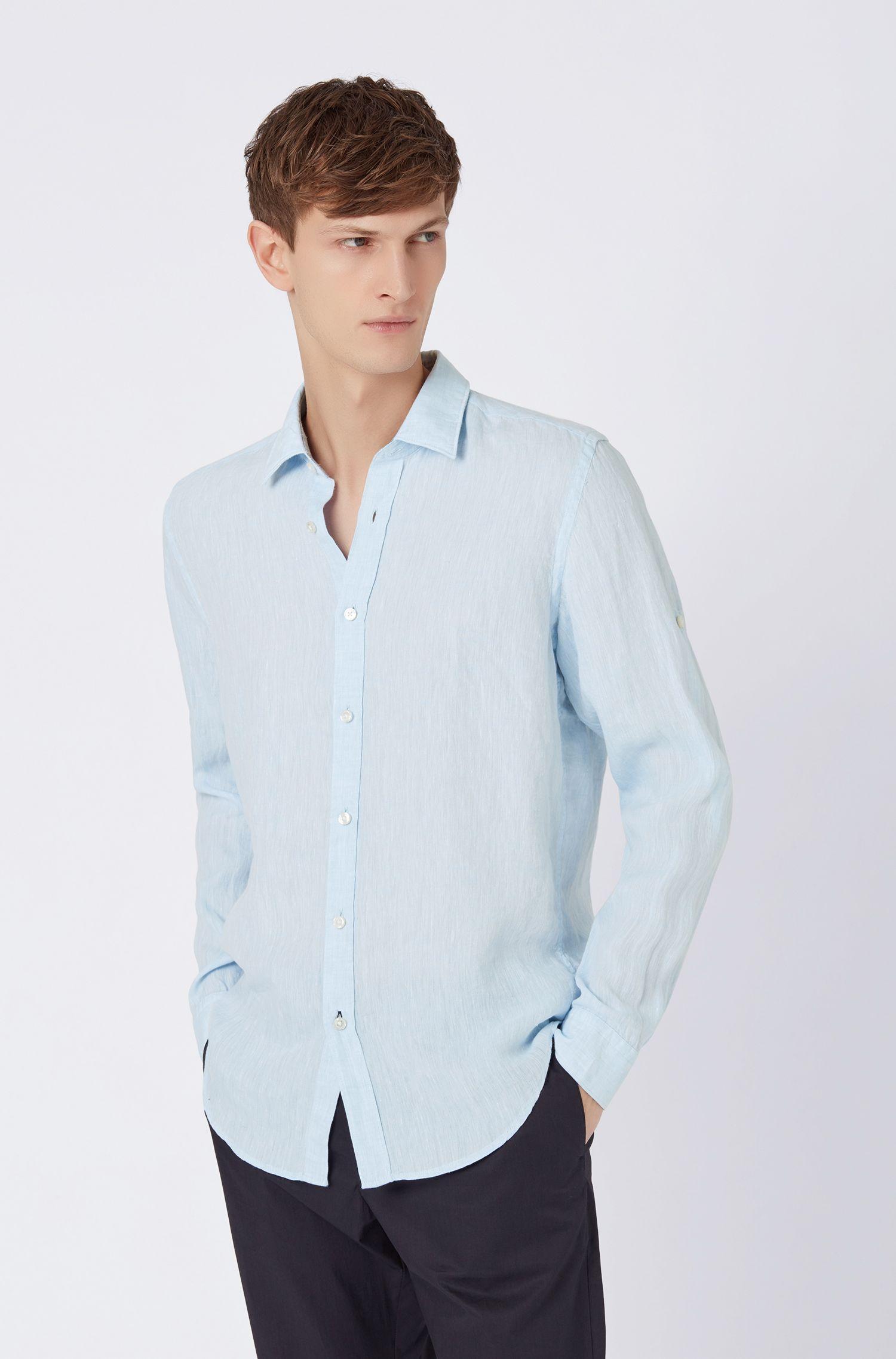 Regular-fit shirt in linen chambray, Light Blue
