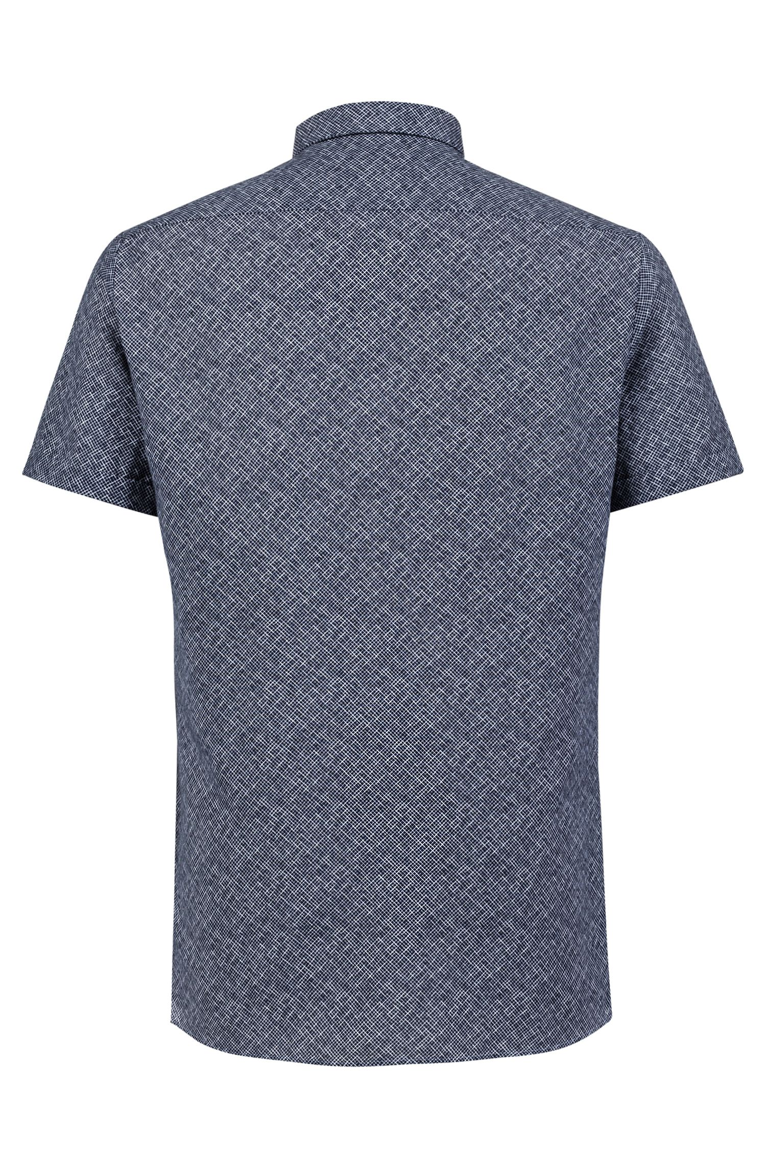Patterned extra-slim-fit shirt in linen with cotton, Dark Blue