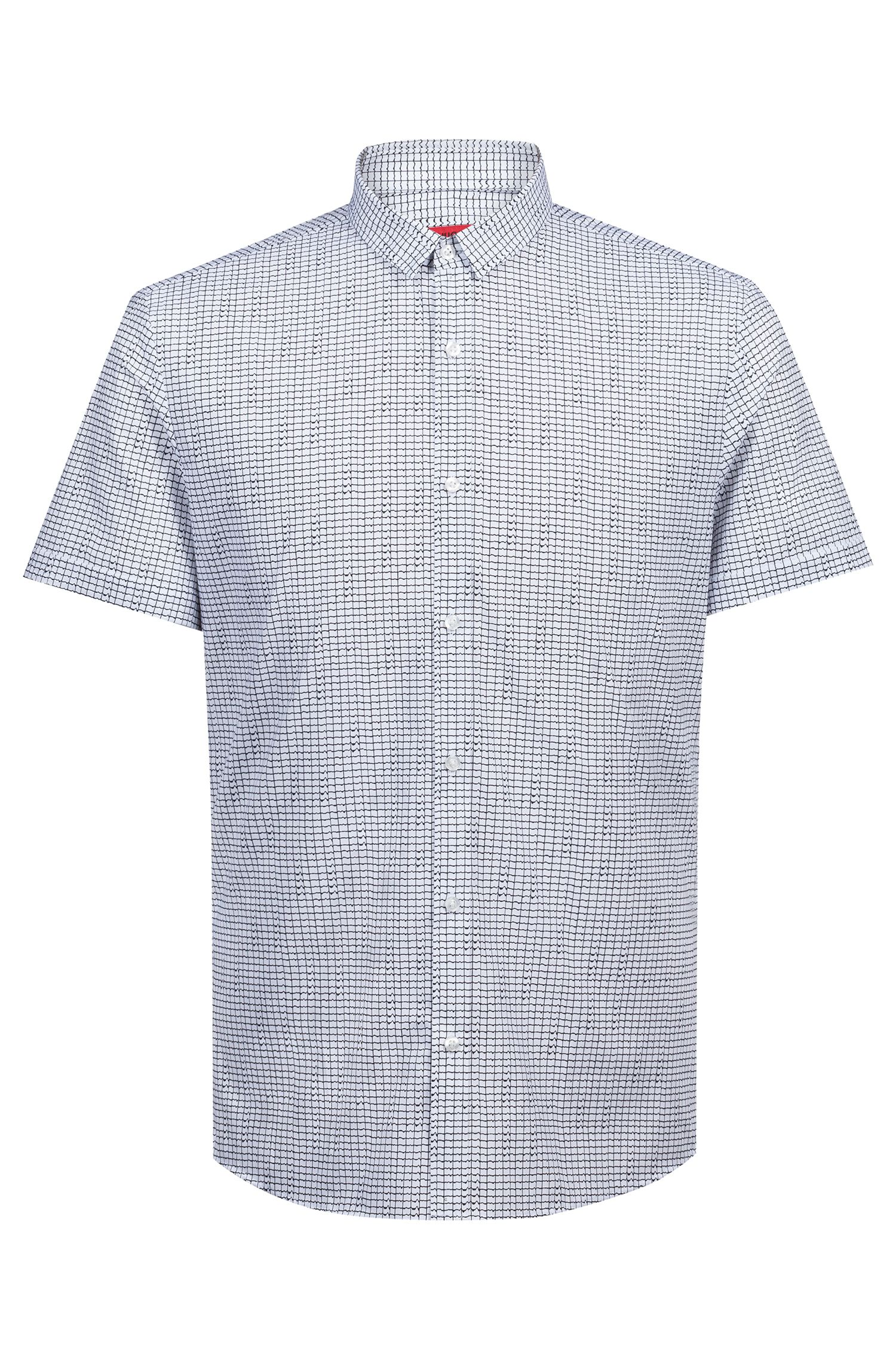 Extra-slim-fit cotton shirt with all-over print, Open White