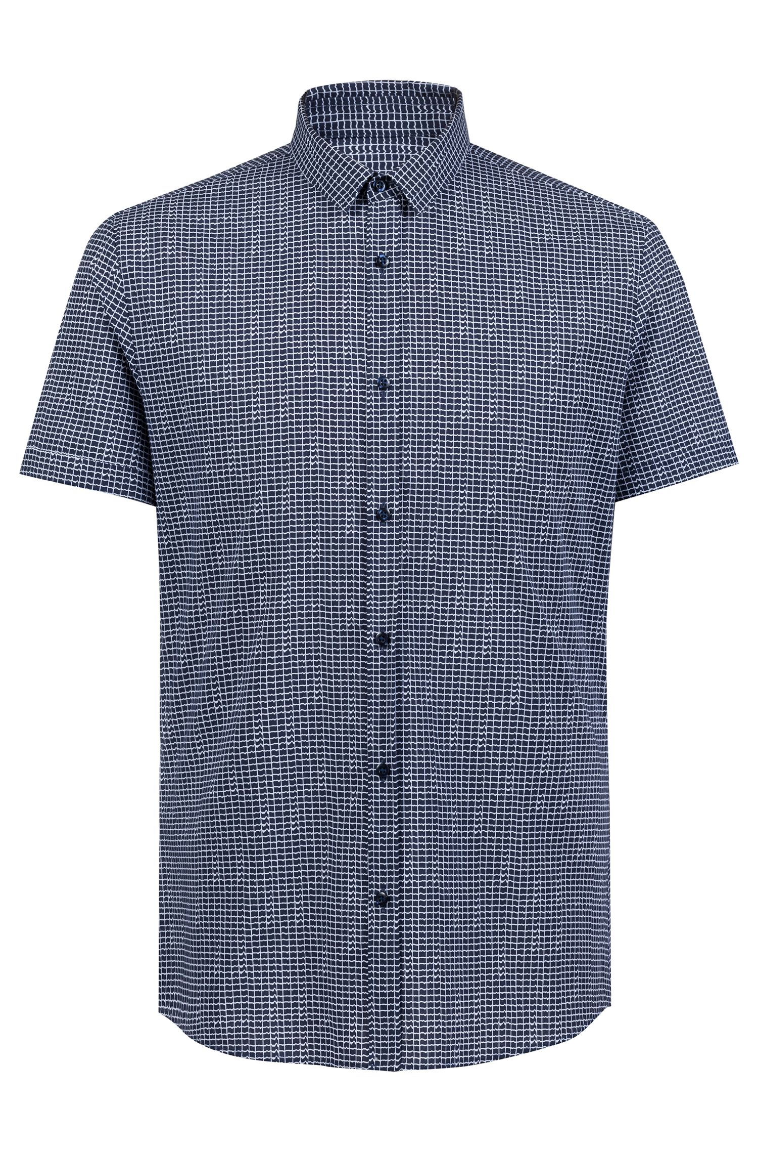 Extra-slim-fit cotton shirt with all-over print, Dark Blue