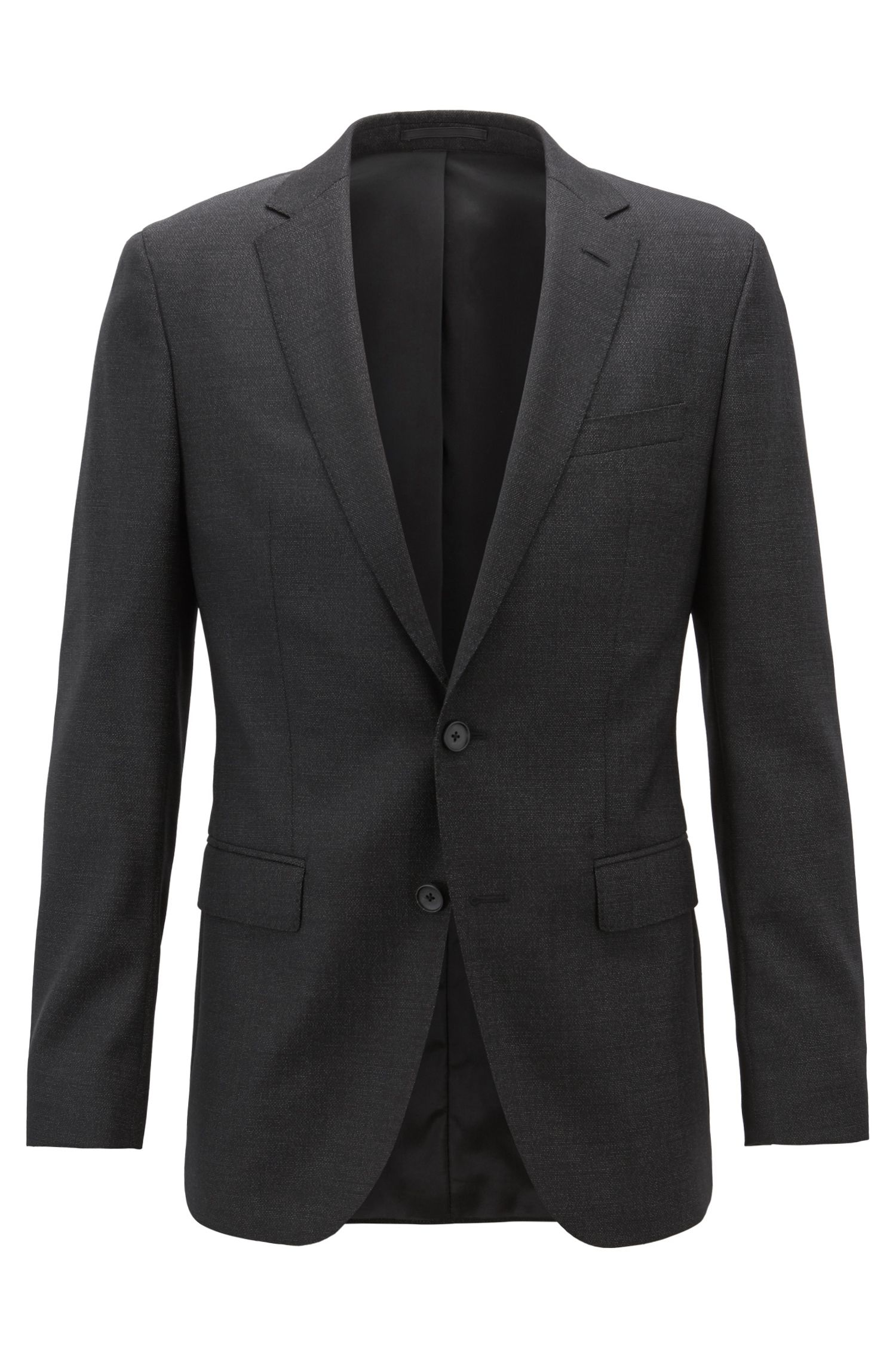 Slim-fit jacket in micro-patterned wool with natural stretch, Black