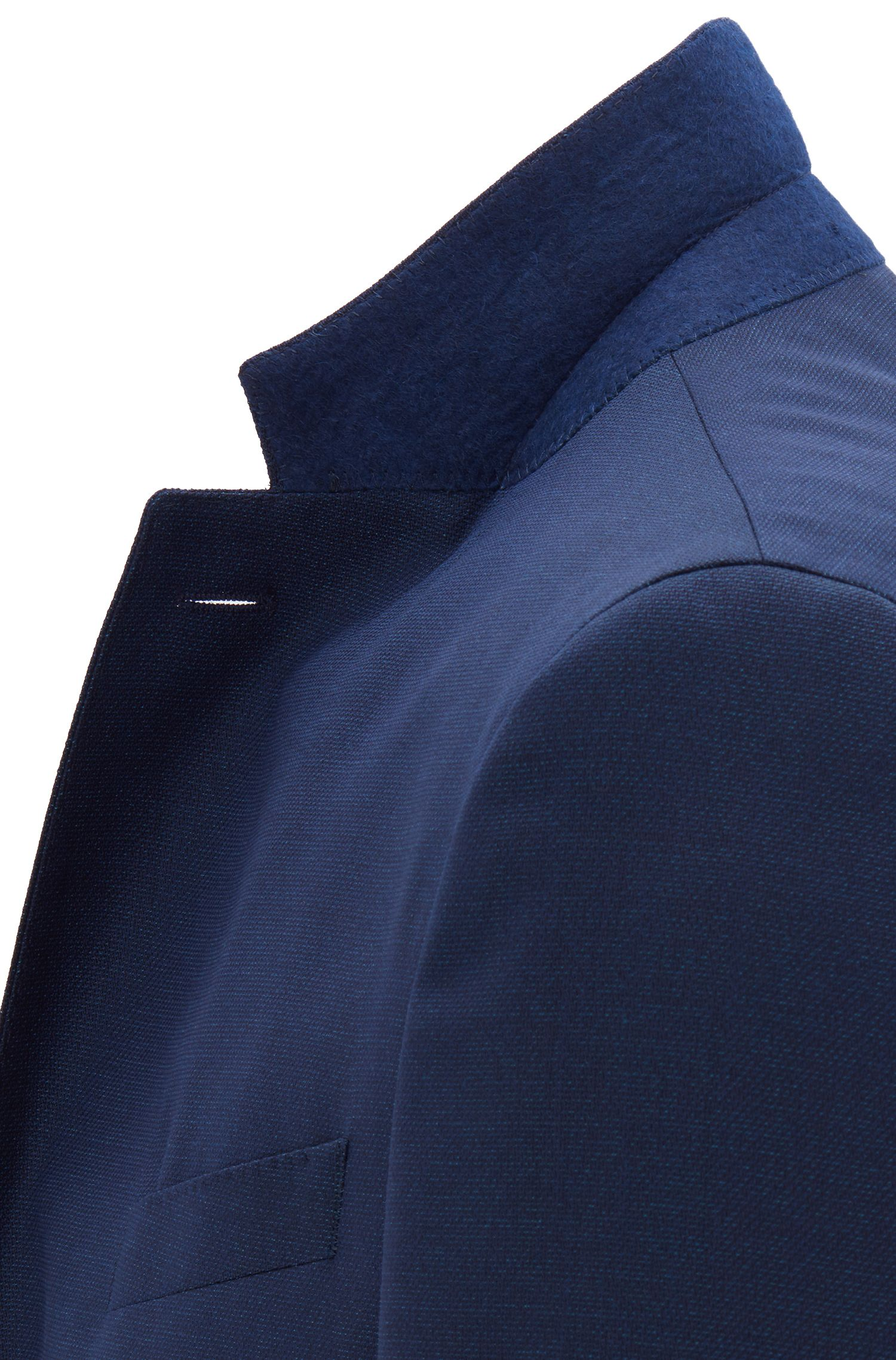 Slim-fit jacket in micro-patterned wool with natural stretch, Open Blue