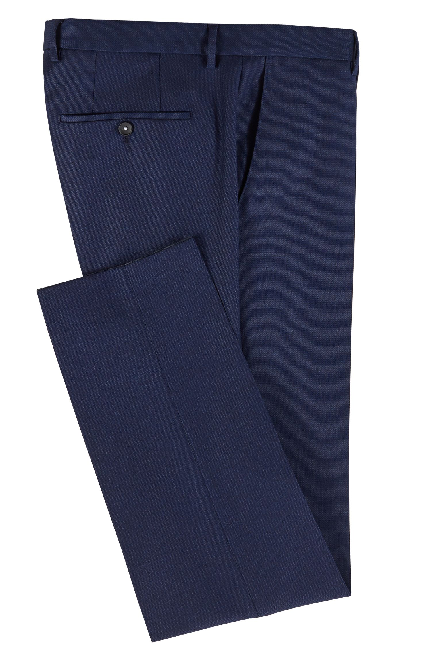 Micro-patterned slim-fit pants in virgin wool, Open Blue