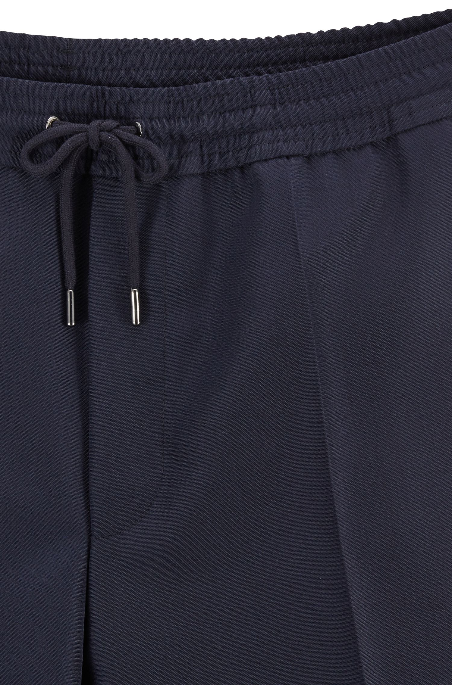 Relaxed-fit pants in mixed wool with turn-ups, Open Blue