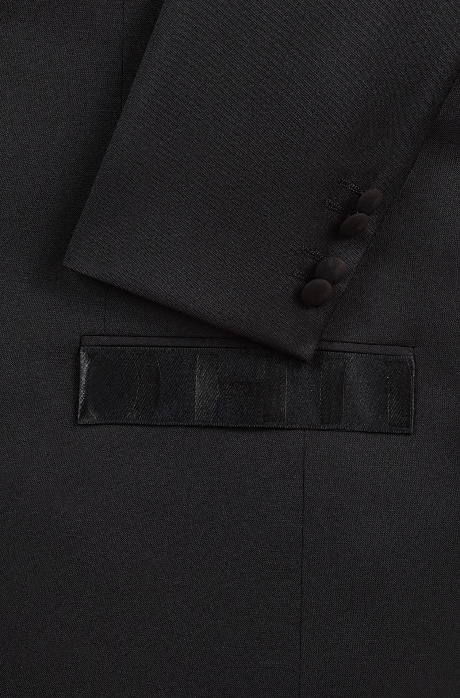 Extra-slim-fit jacket with logo trims, Black