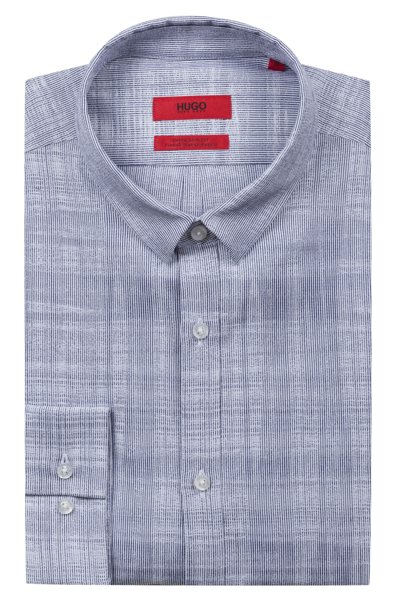 Extra-slim-fit shirt in checked cotton jacquard, Dark Blue