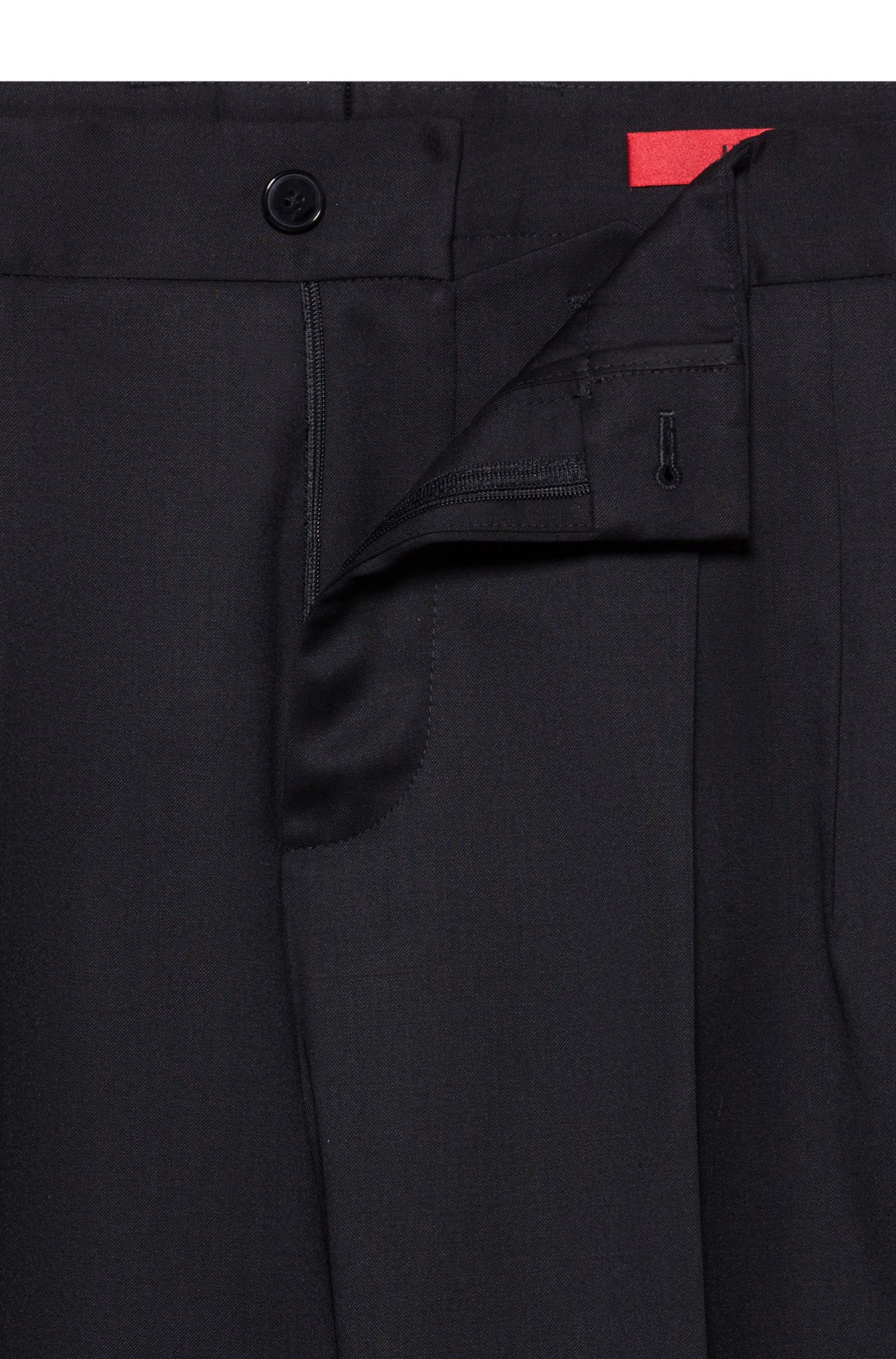 Mid-weight pants in virgin wool twill with natural stretch, Black