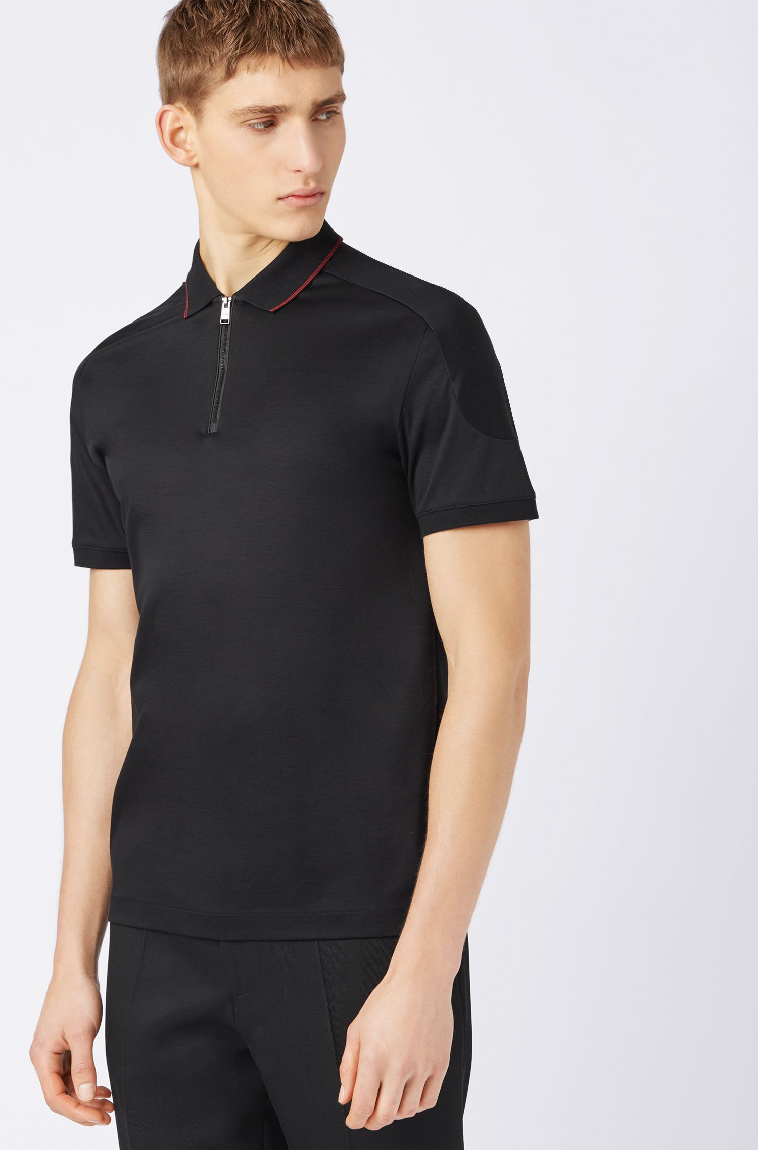 Slim-fit polo shirt in cotton with zippered neck, Black