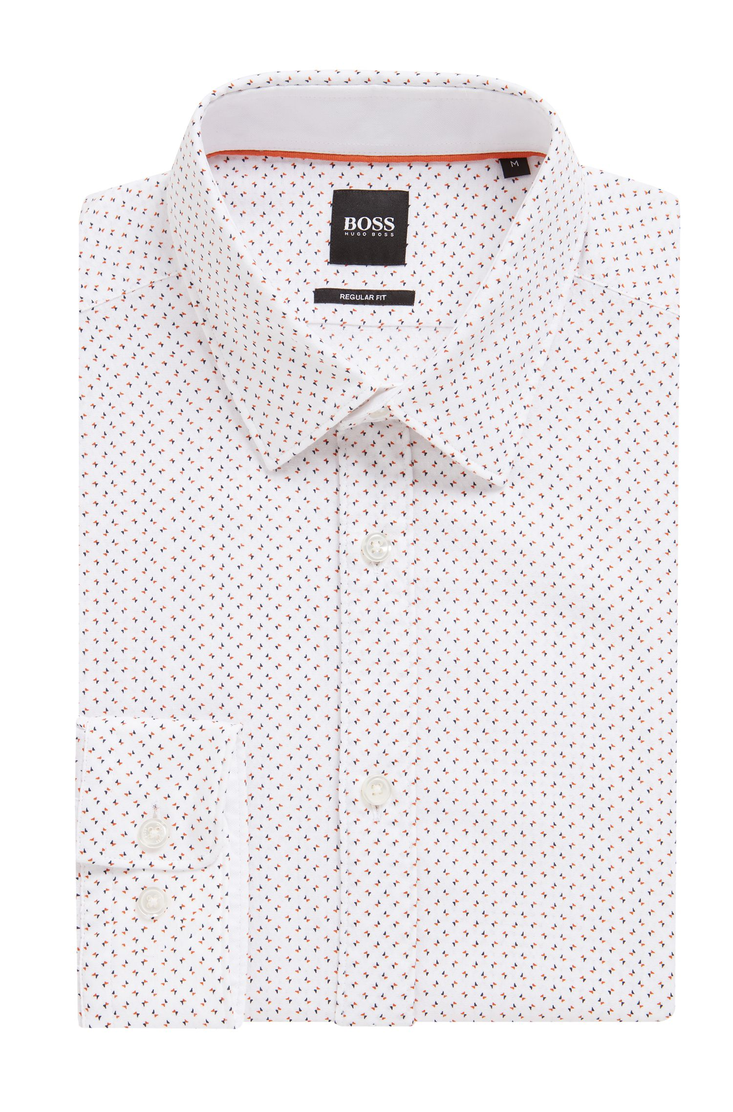 Regular-fit shirt in cotton with exclusive butterfly print, Orange