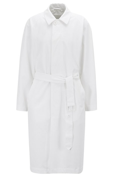 Relaxed-fit trench coat with belted waist, White