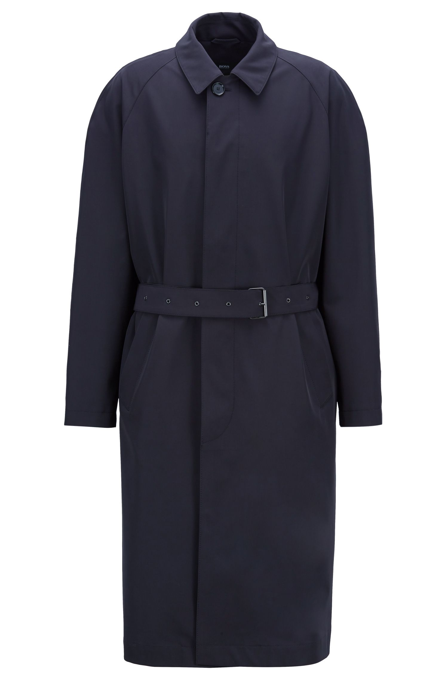 Relaxed-fit trench coat with belted waist, Open Blue