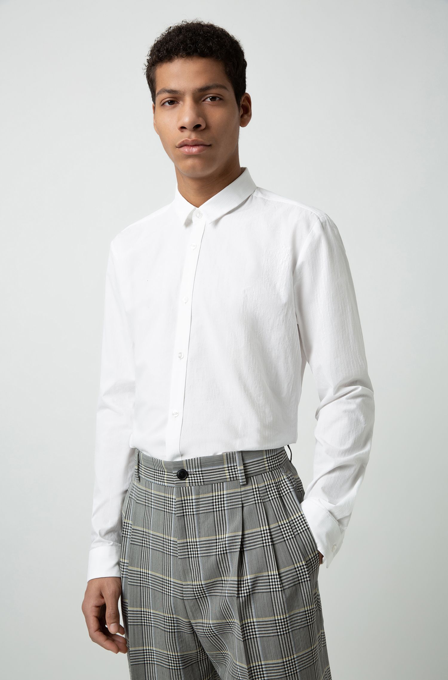 Extra-slim-fit Italian-cotton shirt with jacquard weave, Open White